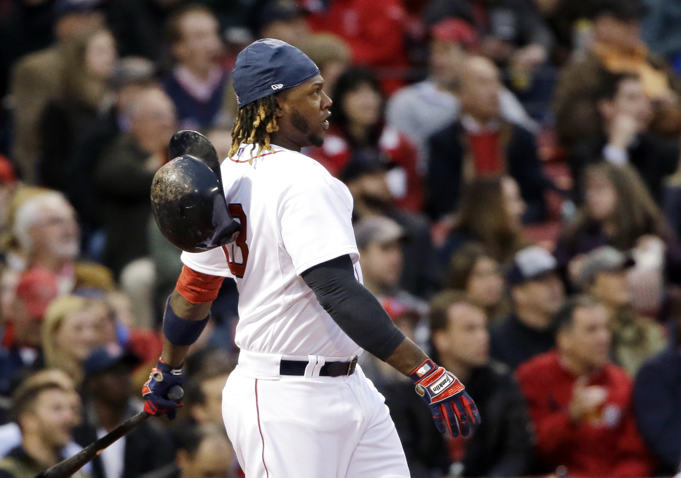 Boston Red Sox's Hanley Ramirez watches  his two-run homer in the third inning of a baseball game against the Toronto Blue Jays at Fenway Park in Boston, Wednesday, April 29, 2015. (AP Photo/Elise Amendola)