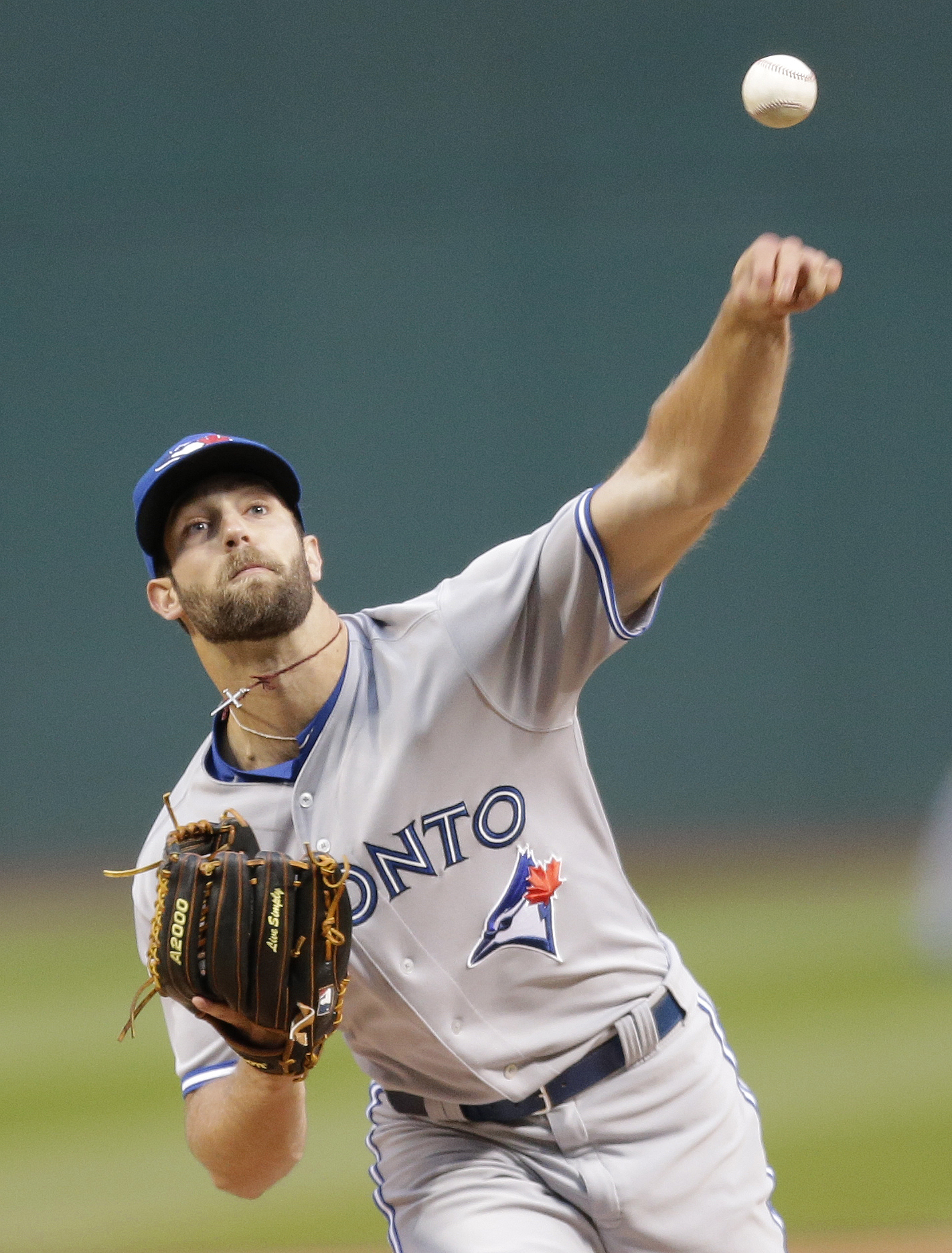 Toronto Blue Jays starting pitcher Daniel Norris delivers in the first inning of a baseball game against the Toronto Blue Jays, Thursday, April 30, 2015, in Cleveland. (AP Photo/Tony Dejak)