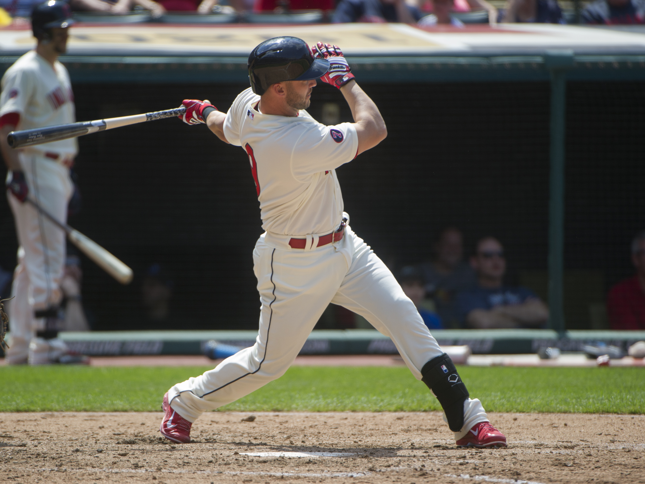 Cleveland Indians' Ryan Rayburn watches his two-run double off Toronto Blue Jays' Jeff Francis during the fifth inning of a baseball game in Cleveland, Sunday, May 3, 2015. (AP Photo/Phil Long)
