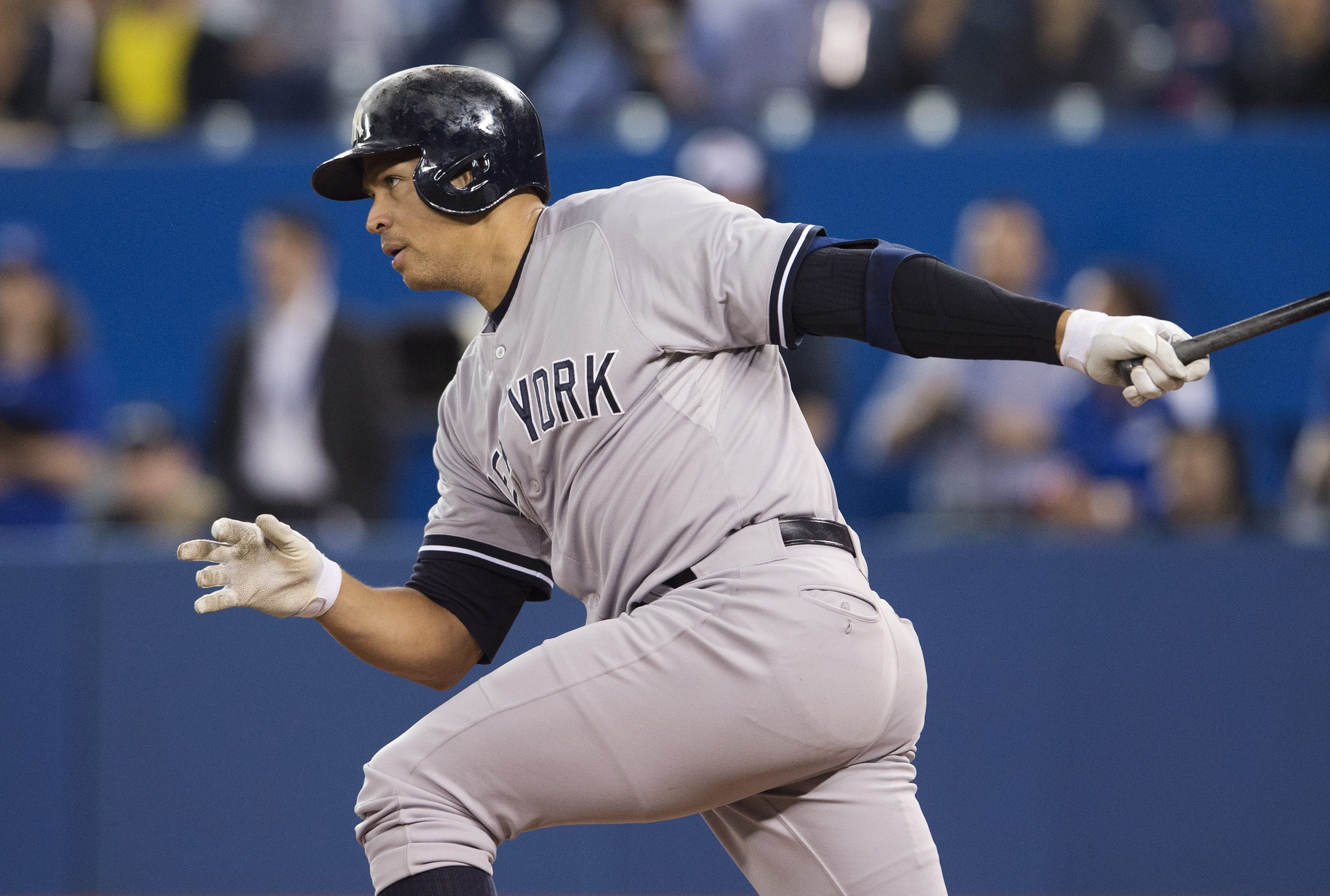 New York Yankees' Alex Rodriguez grounds out during first inning MLB baseball action against the Toronto Blue Jays in Toronto on Monday, May 4, 2015. (Darren Calabrese/The Canadian Press via AP)   MANDATORY CREDIT