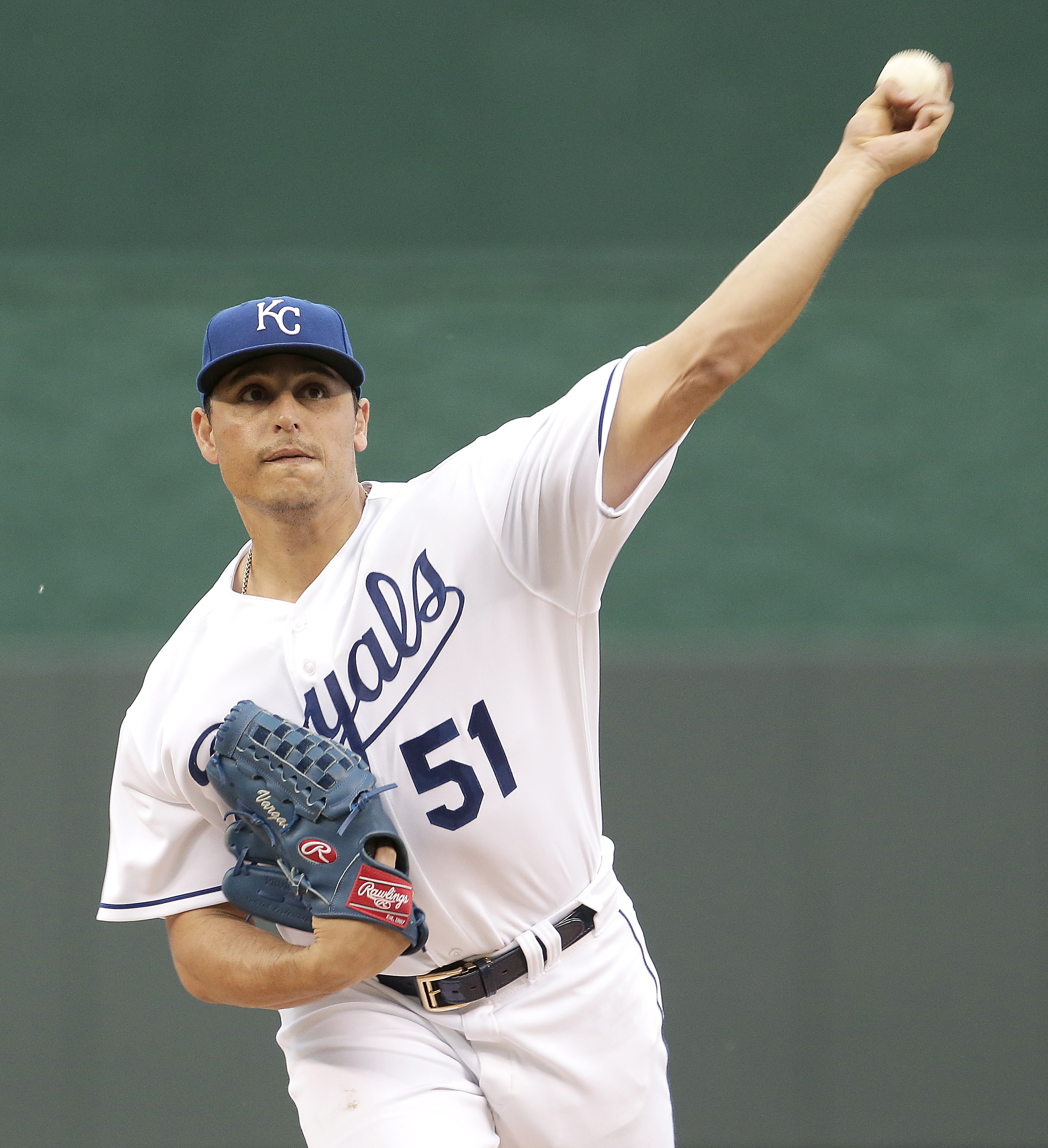 Kansas City Royals starting pitcher Jason Vargas throws during the first inning of a baseball game against the Cleveland Indians, Tuesday, May 5, 2015, in Kansas City, Mo. (AP Photo/Charlie Riedel)