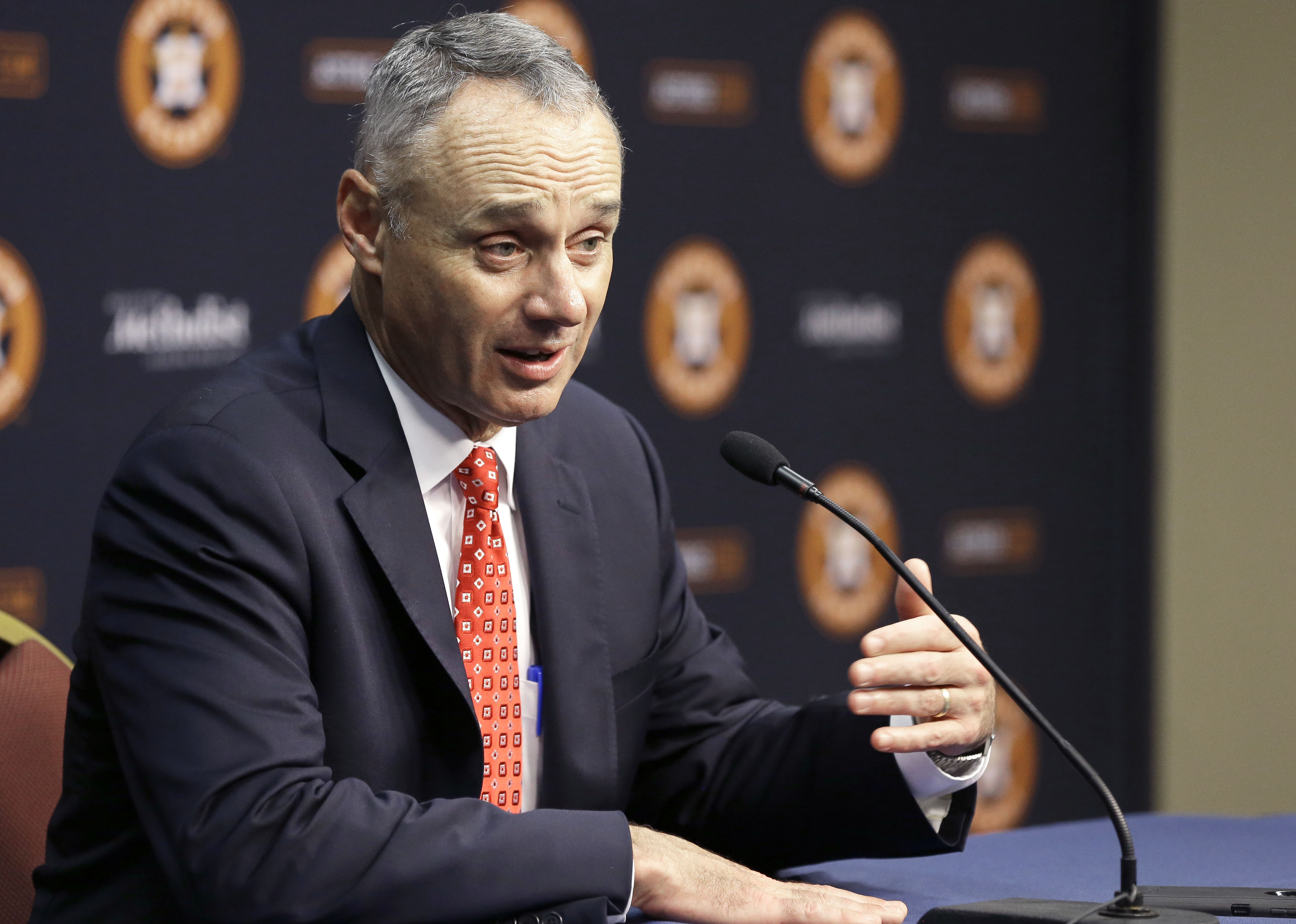 Major League Baseball Commissioner Rob Manfred speaks at a press conference before a baseball game between the Houston Astros and the Texas Rangers Wednesday, May 6, 2015, in Houston. (AP Photo/Pat Sullivan)