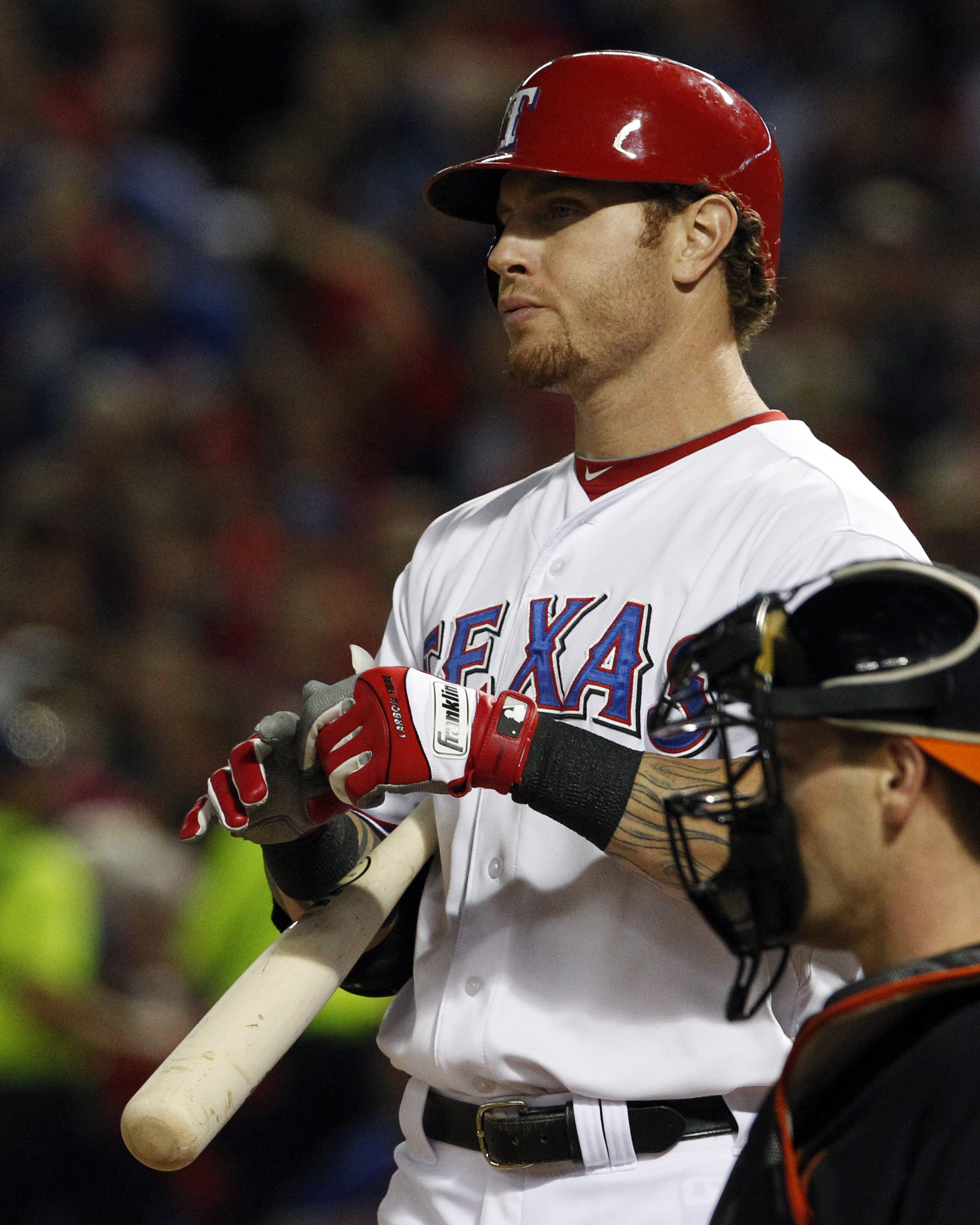 ADVANCE FOR WEEKEND EDITIONS, MAY 8-10 - FILE - In this Oct. 5, 2012, file photo,  Texas Rangers center fielder Josh Hamilton (32) reacts to striking out against the Baltimore Orioles during an American League wild-card playoff baseball game n Arlington,