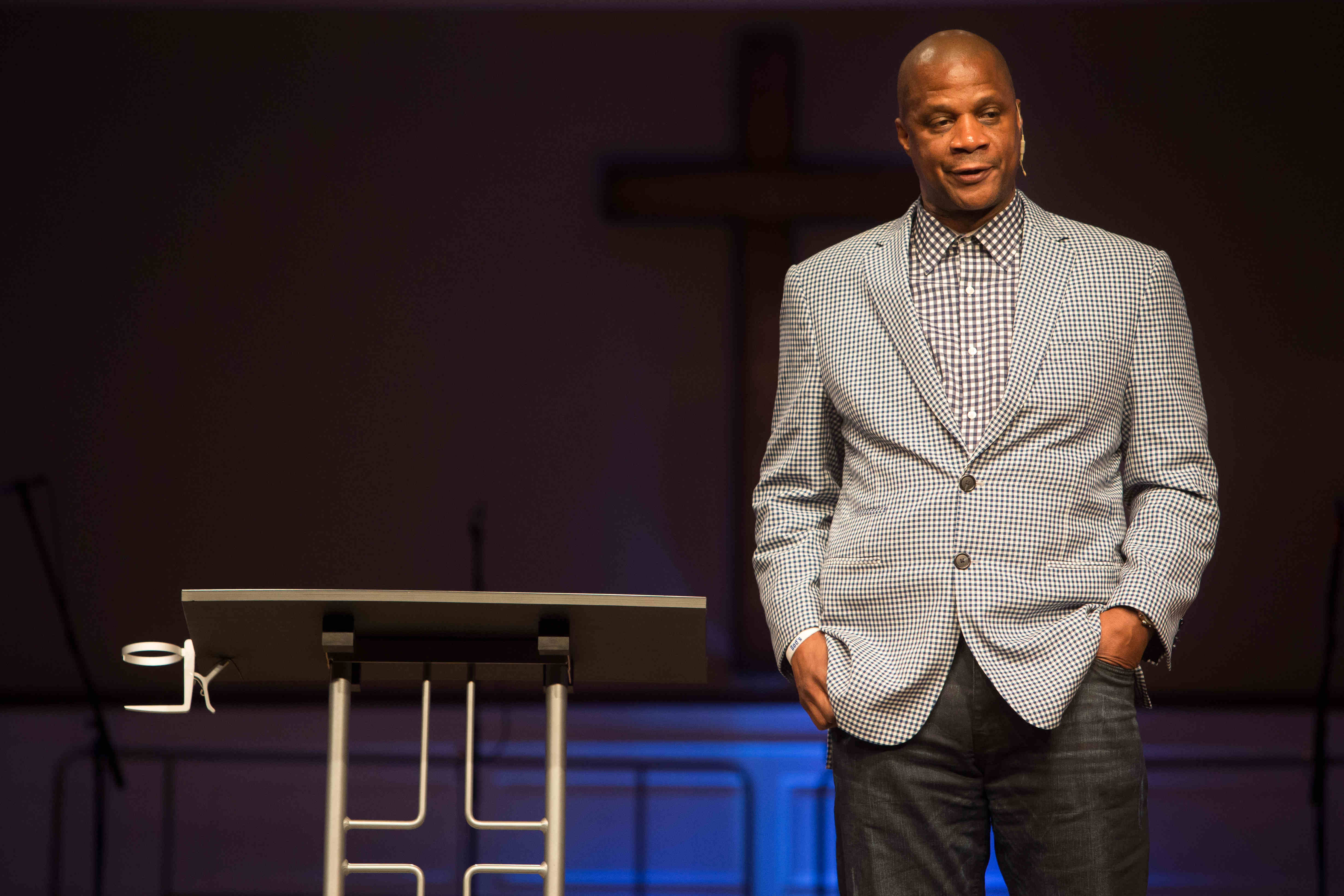 ADVANCE FOR WEEKEND EDITIONS, MAY 8-10 - In this April 24, 2015, photo former baseball player Darryl Strawberry gives a sermon in Bear, Del. His promising career was derailed by drug addiction, domestic violence, tax woes and a bout with a cancer. Strawbe
