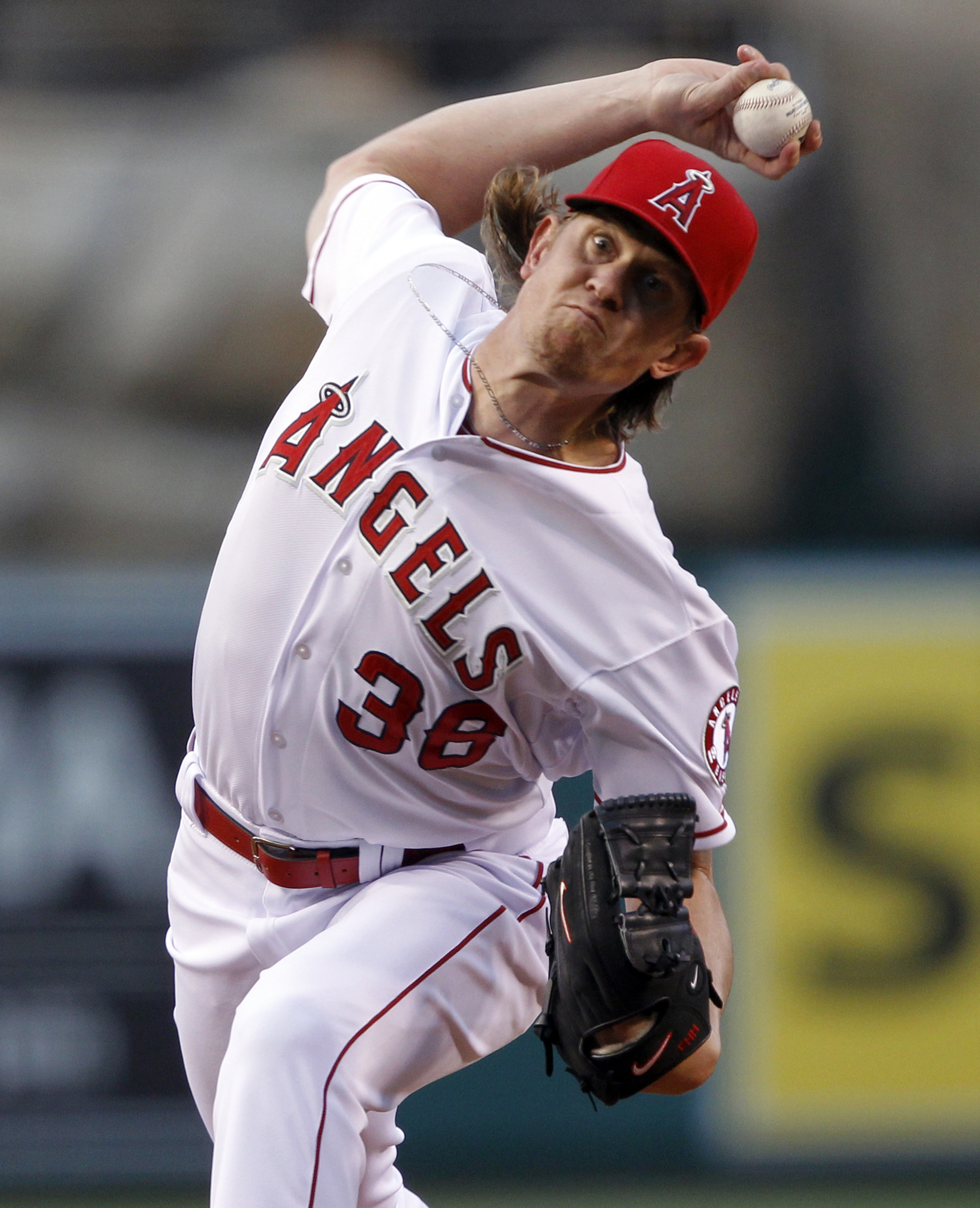 Los Angeles Angels starting pitcher Jered Weaver throws against the Houston Astros during the first inning of a baseball game in Anaheim, Calif., Friday, May 8, 2015. (AP Photo/Alex Gallardo)