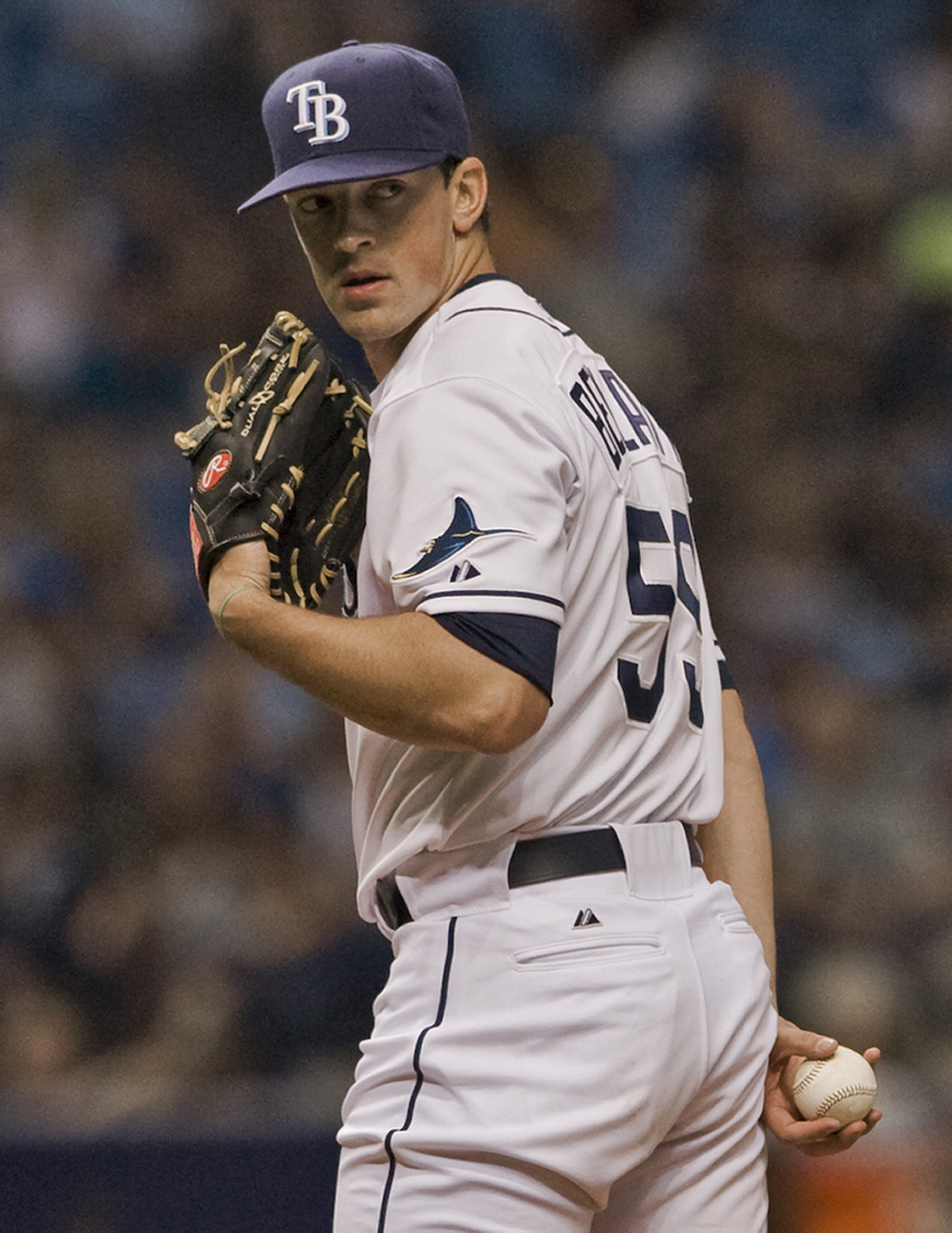 Tampa Bay Rays reliever Andrew Bellatti looks at a Texas Rangers baserunner during the ninth inning of a baseball game Saturday, May 9, 2015, in St. Petersburg, Fla. Bellatti earned the win, pitching three innings of the Rays' 7-2 win over Texas. (AP Phot