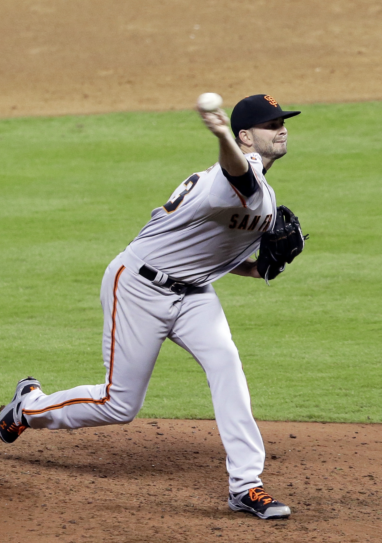 San Francisco Giants' Chris Heston delivers a pitch against the Houston Astros in the sixth inning of a baseball game Tuesday, May 12, 2015, in Houston. (AP Photo/Pat Sullivan)