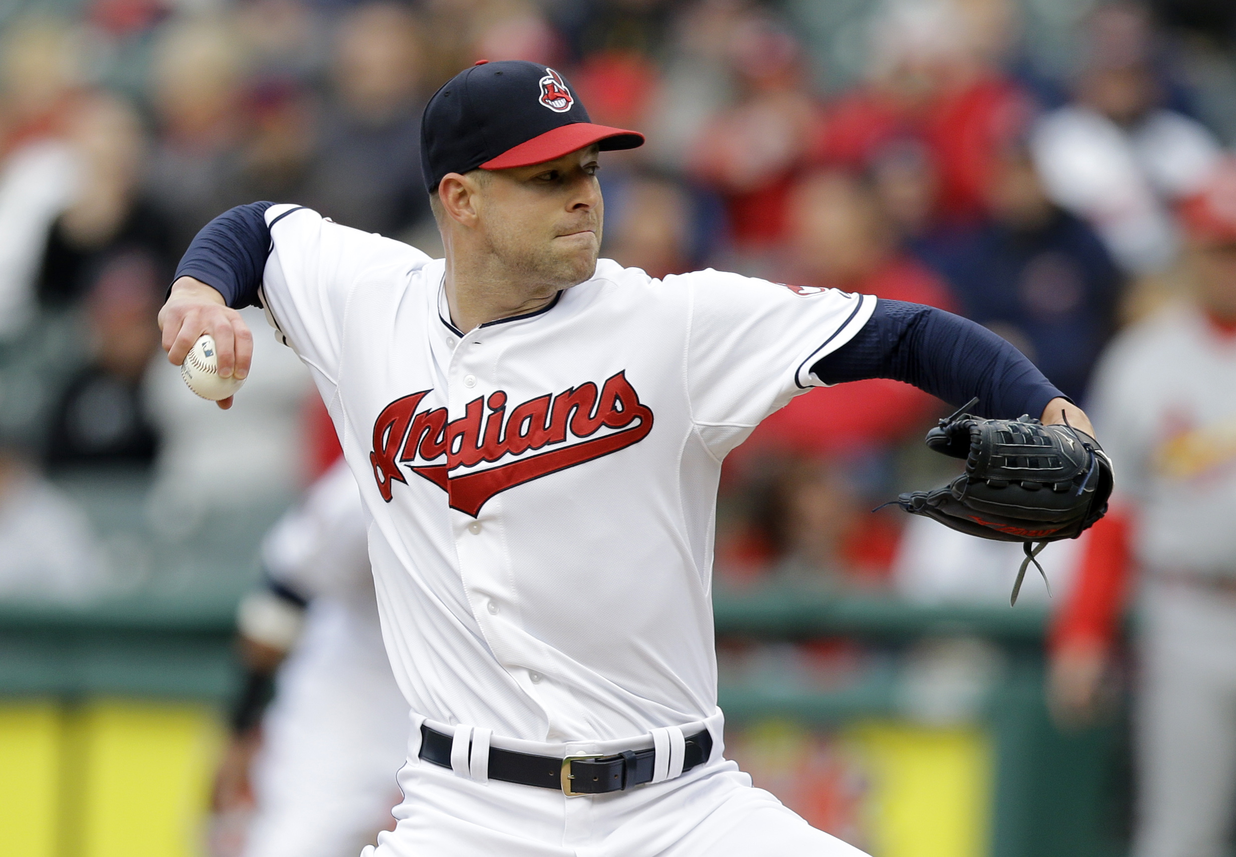 Cleveland Indians starting pitcher Corey Kluber delivers in the first inning of a baseball game against the St. Louis Cardinals, Wednesday, May 13, 2015, in Cleveland. (AP Photo/Tony Dejak)