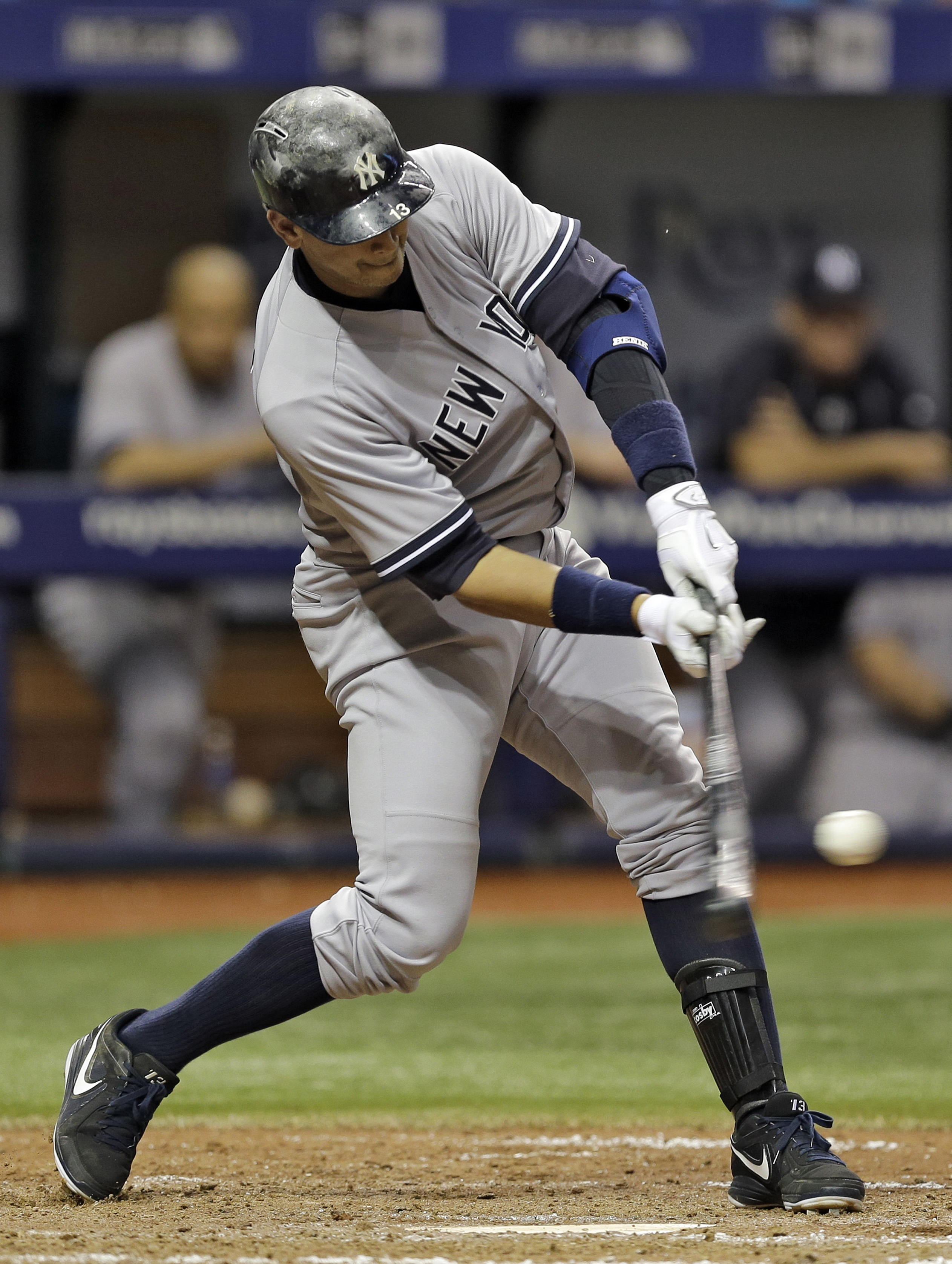 New York Yankees' Alex Rodriguez lines a single off Tampa Bay Rays relief pitcher Brandon Gomes during the seventh inning of a baseball game Wednesday, May 13, 2015, in St. Petersburg, Fla. The Rays defeated the Yankees 3-2. (AP Photo/Chris O'Meara)
