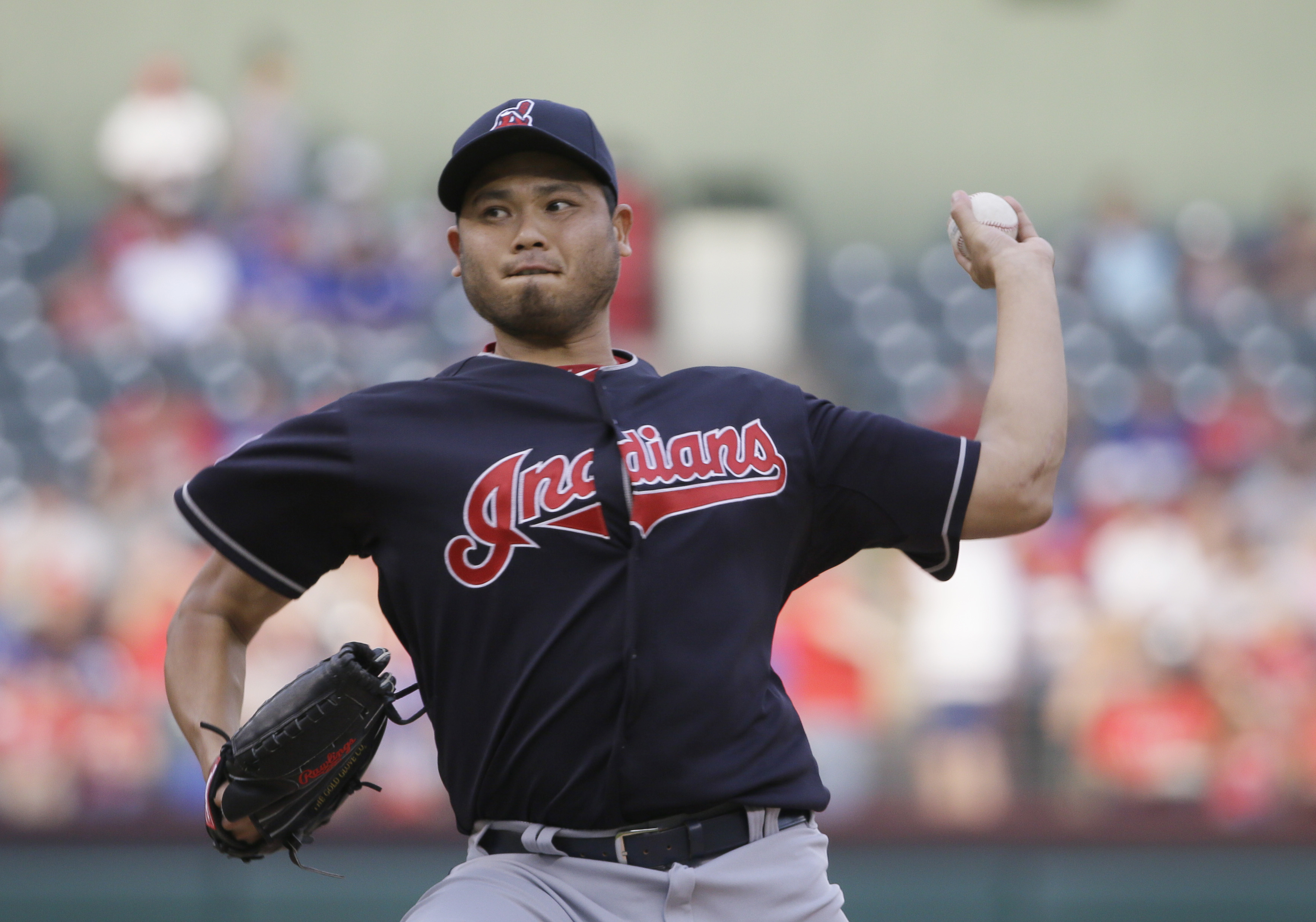 Cleveland Indians starting pitcher Bruce Chen throws during the first inning of a baseball game against the Texas Rangers in Arlington, Texas, Friday, May 15, 2015. (AP Photo/LM Otero)