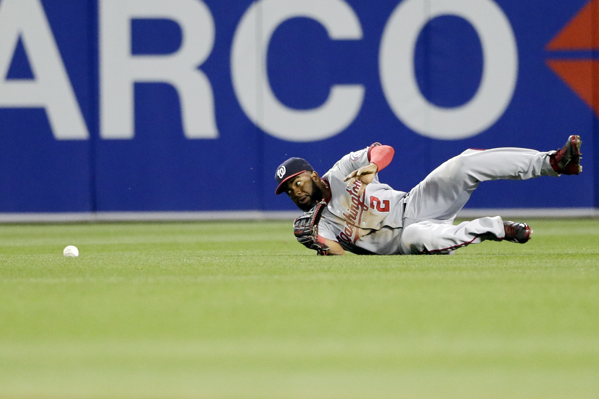 Washington Nationals center fielder Denard Span can't reach a single by San Diego Padres' Justin Upton during the sixth inning in a baseball game Friday, May 15, 2015, in San Diego. (AP Photo/Gregory Bull)