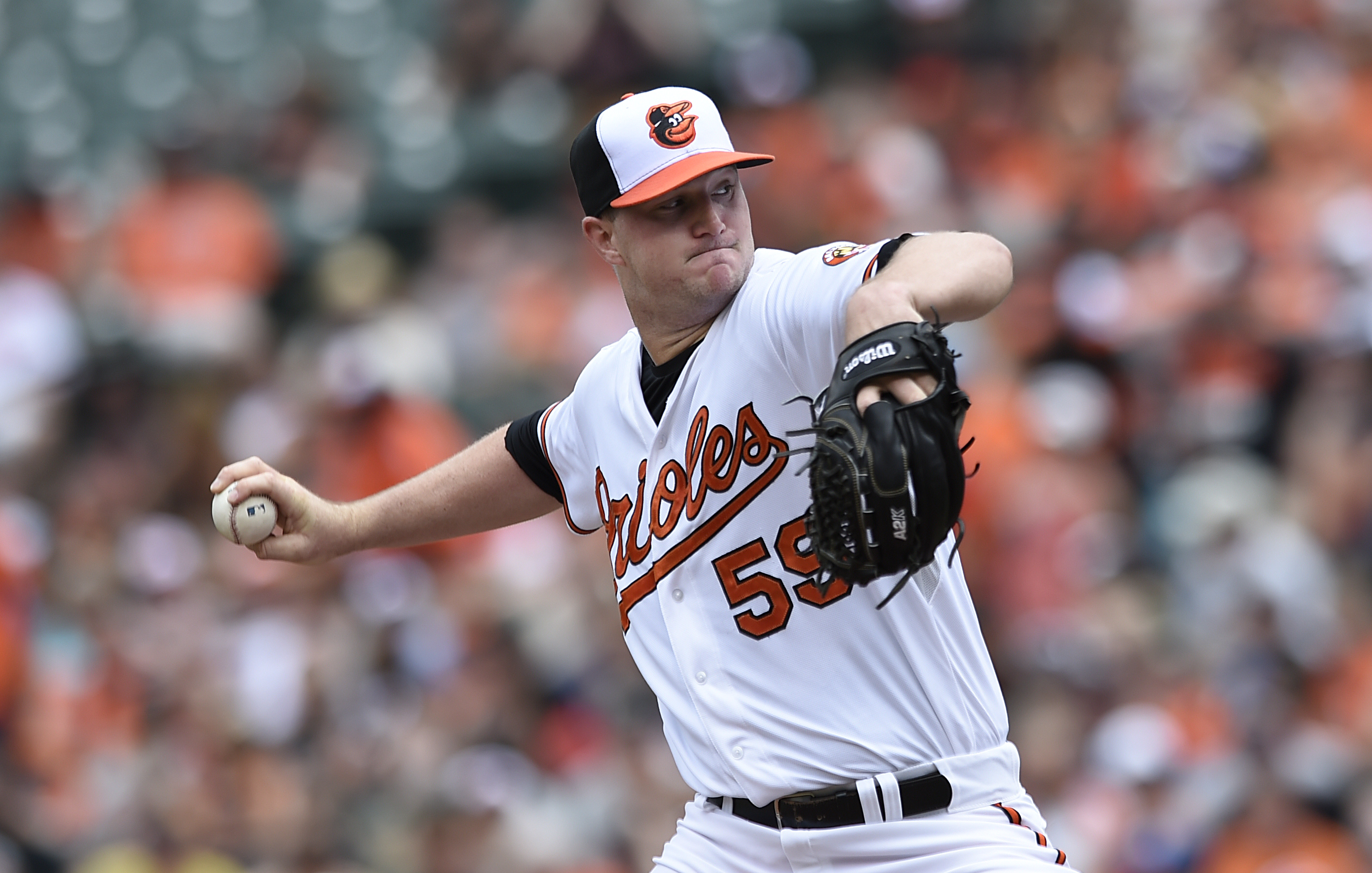 Baltimore Orioles starting pitcher Mike Wright makes his major league debut against the Los Angeles Angels in the first inning of a baseball game Sunday, May 17, 2015, in Baltimore. (AP Photo/Gail Burton)