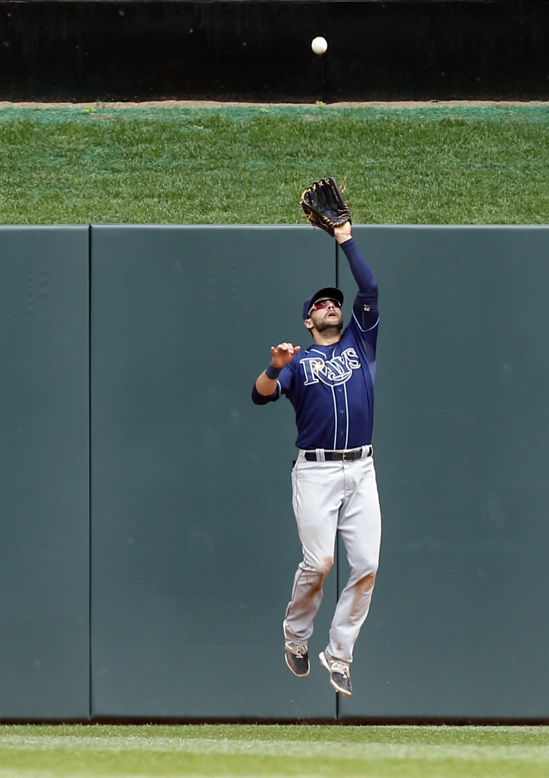 Tampa Bay Rays center fielder Kevin Kiermaier jumps to catch a deep fly ball hit by Minnesota Twins' Brian Dozier in the third inning of a baseball game, Sunday, May 17, 2015, in Minneapolis. (AP Photo/Jim Mone)