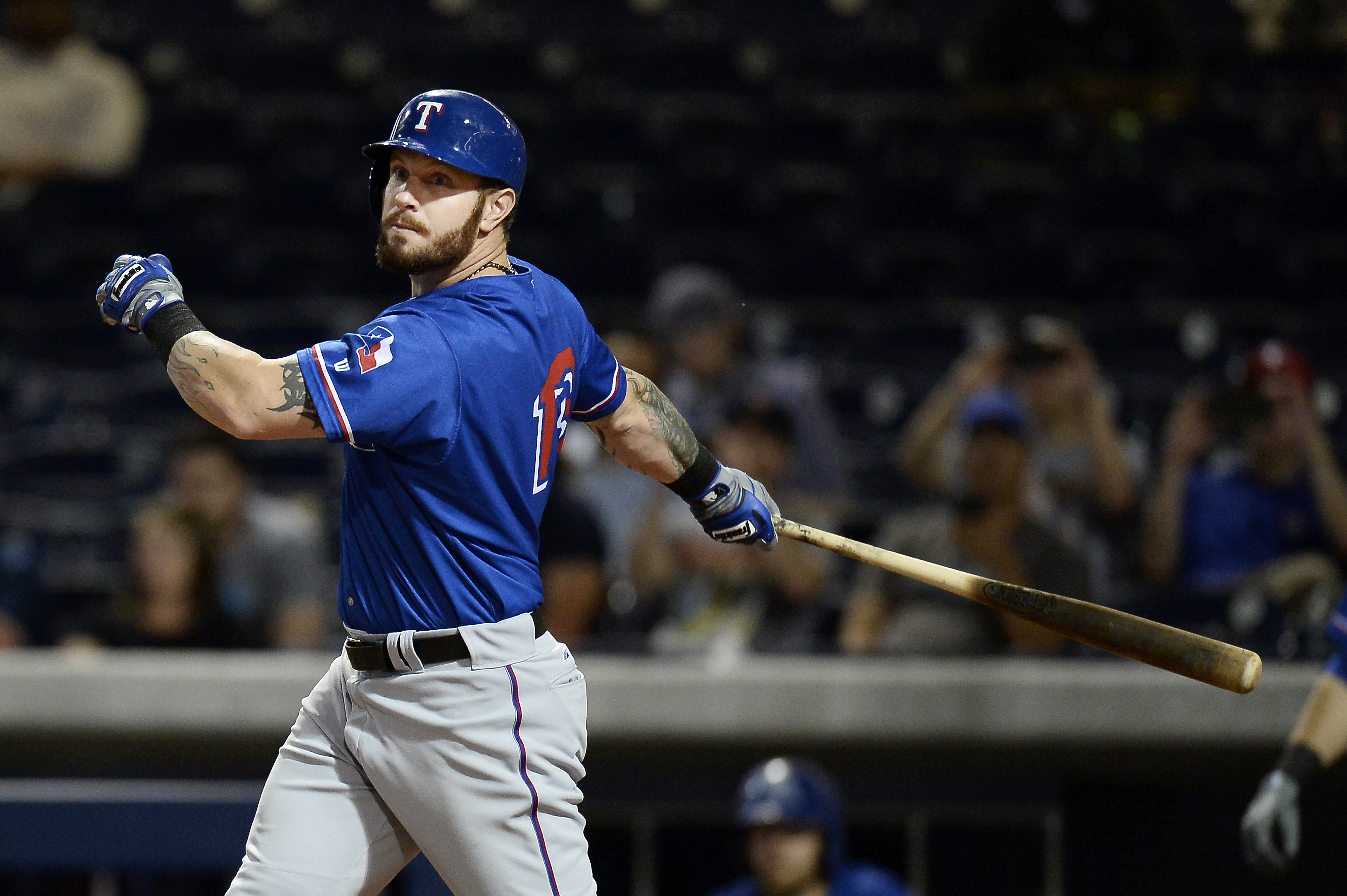 Texas Rangers' Josh Hamilton bats in the seventh inning against the Nashville Sounds on Monday, May 11, 2015, in Nashville, Tenn. Hamilton is playing for the Round Rock Express AAA minor league baseball team before rejoining the Rangers after a rehab stin