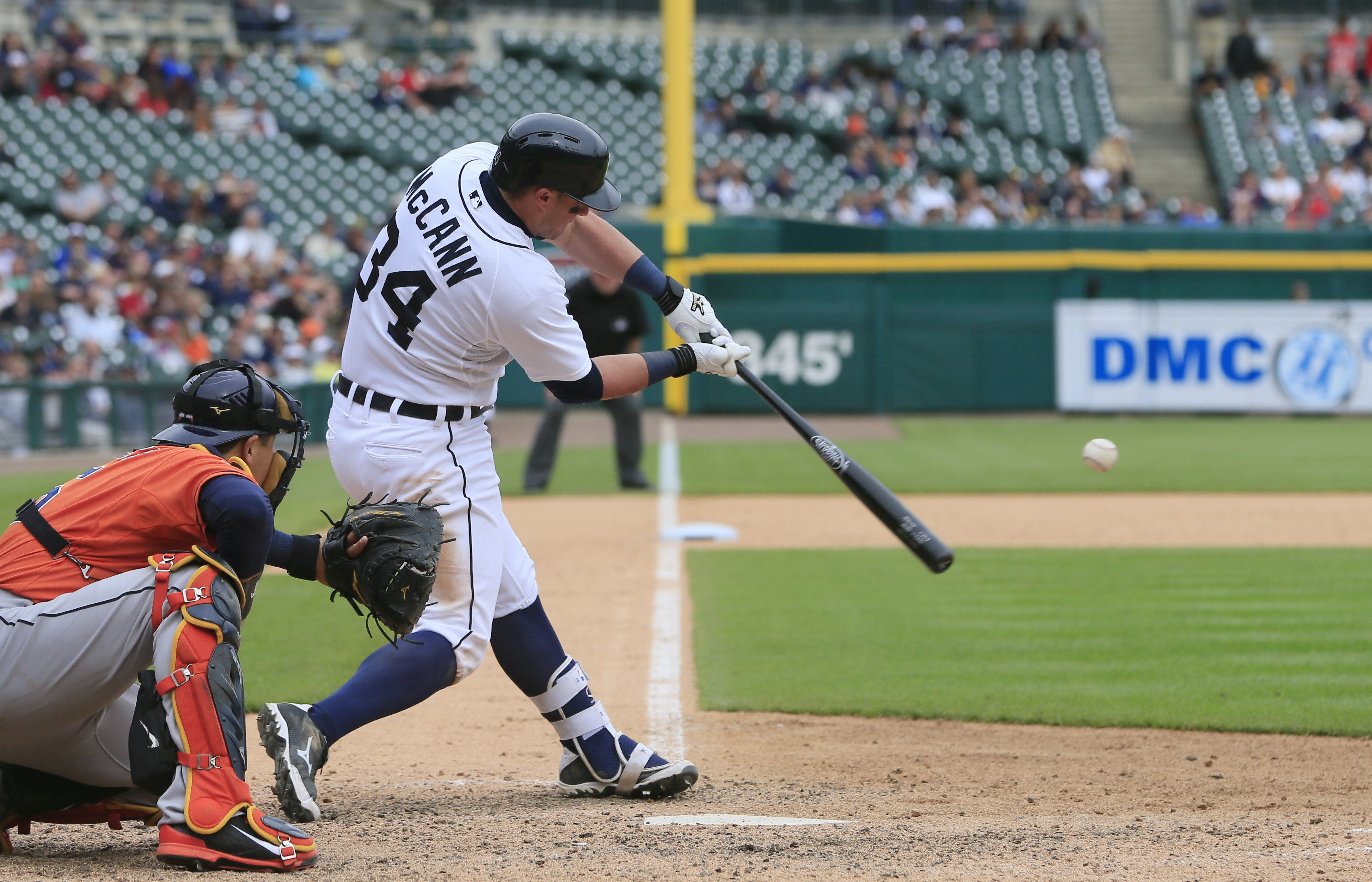 Detroit Tigers' James McCann connects for the game-winning home run during the 11th inning of a baseball game against the Houston Astros, Thursday, May 21, 2015, in Detroit. The Tigers defeated the Astros 6-5. (AP Photo/Carlos Osorio)