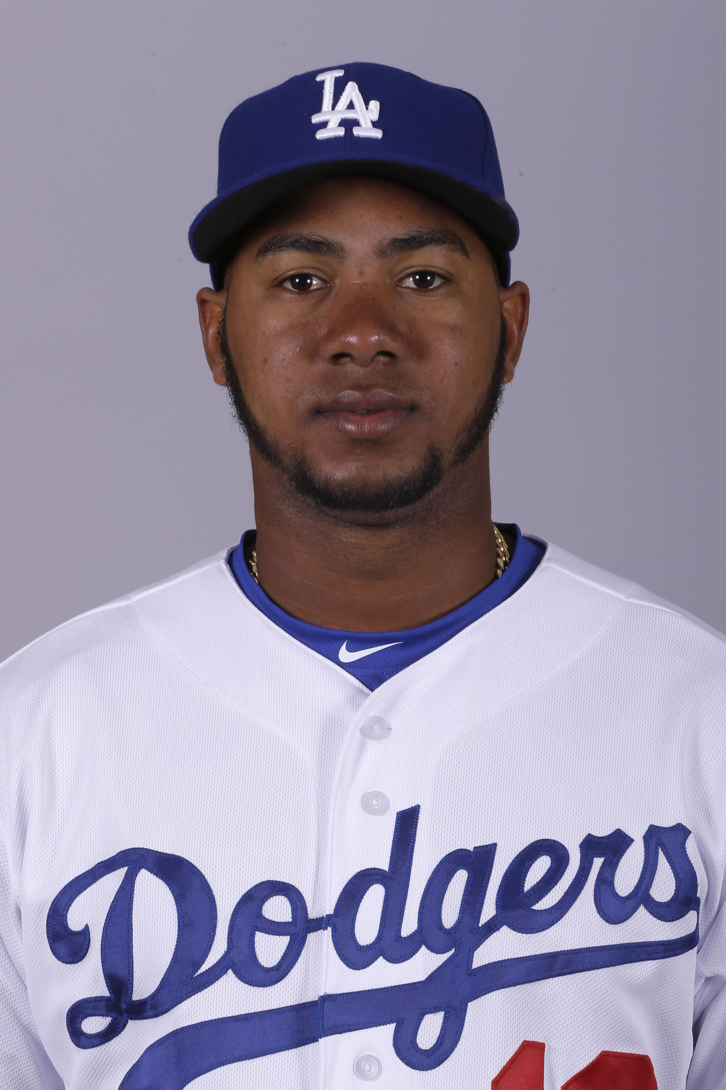 FILE - This 2015 file photo shows Erisbel Arruebarrena of the Los Angeles Dodgers baseball team. Infielder Erisbel Arruebarrena has been suspended by the Los Angeles Dodgers for the remainder of the season. The Dodgers said Thursday, May 21, 2015 they dis