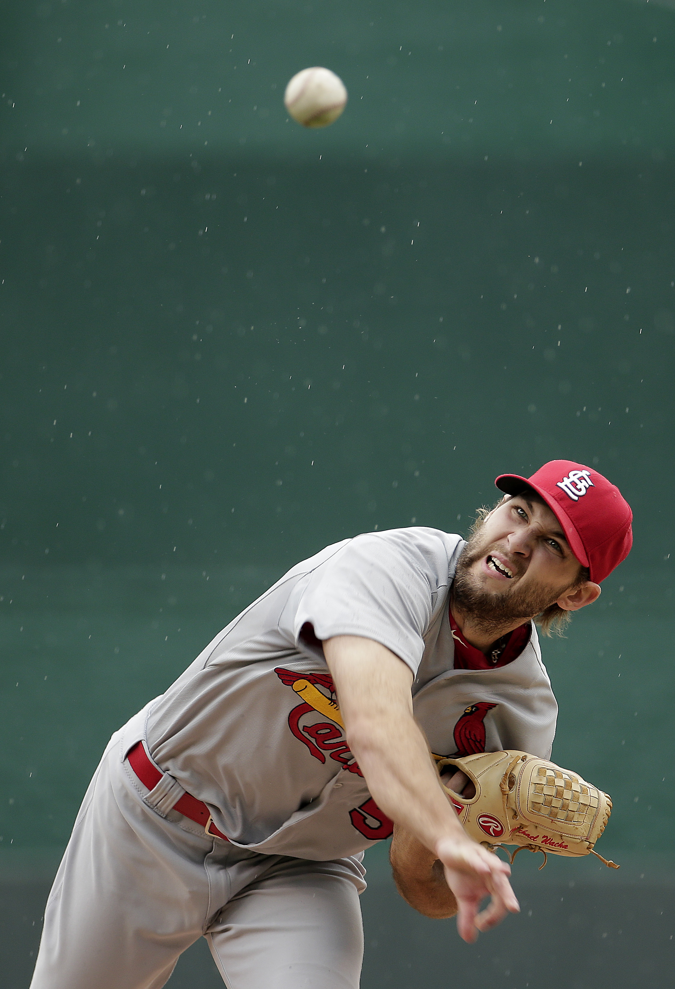 St. Louis Cardinals starting pitcher Michael Wacha throws during the first inning of a baseball game against the Kansas City Royals, Sunday, May 24, 2015, in Kansas City, Mo. (AP Photo/Charlie Riedel)