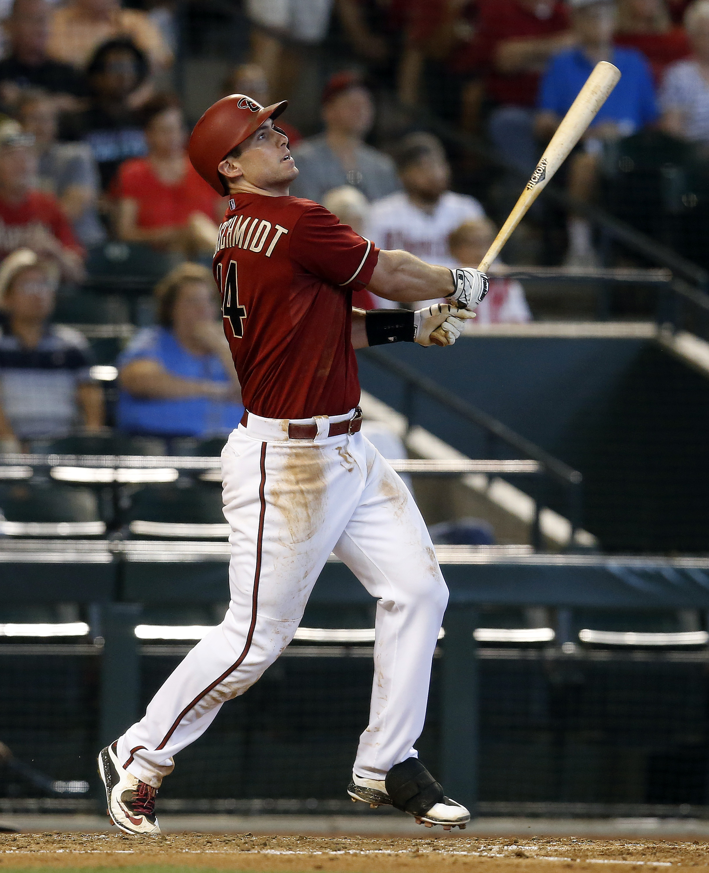 Arizona Diamondbacks' Paul Goldschmidt hits a two-run home run against the Chicago Cubs in the third inning during a baseball game, Sunday, May 24, 2015, in Phoenix. (AP Photo/Rick Scuteri)