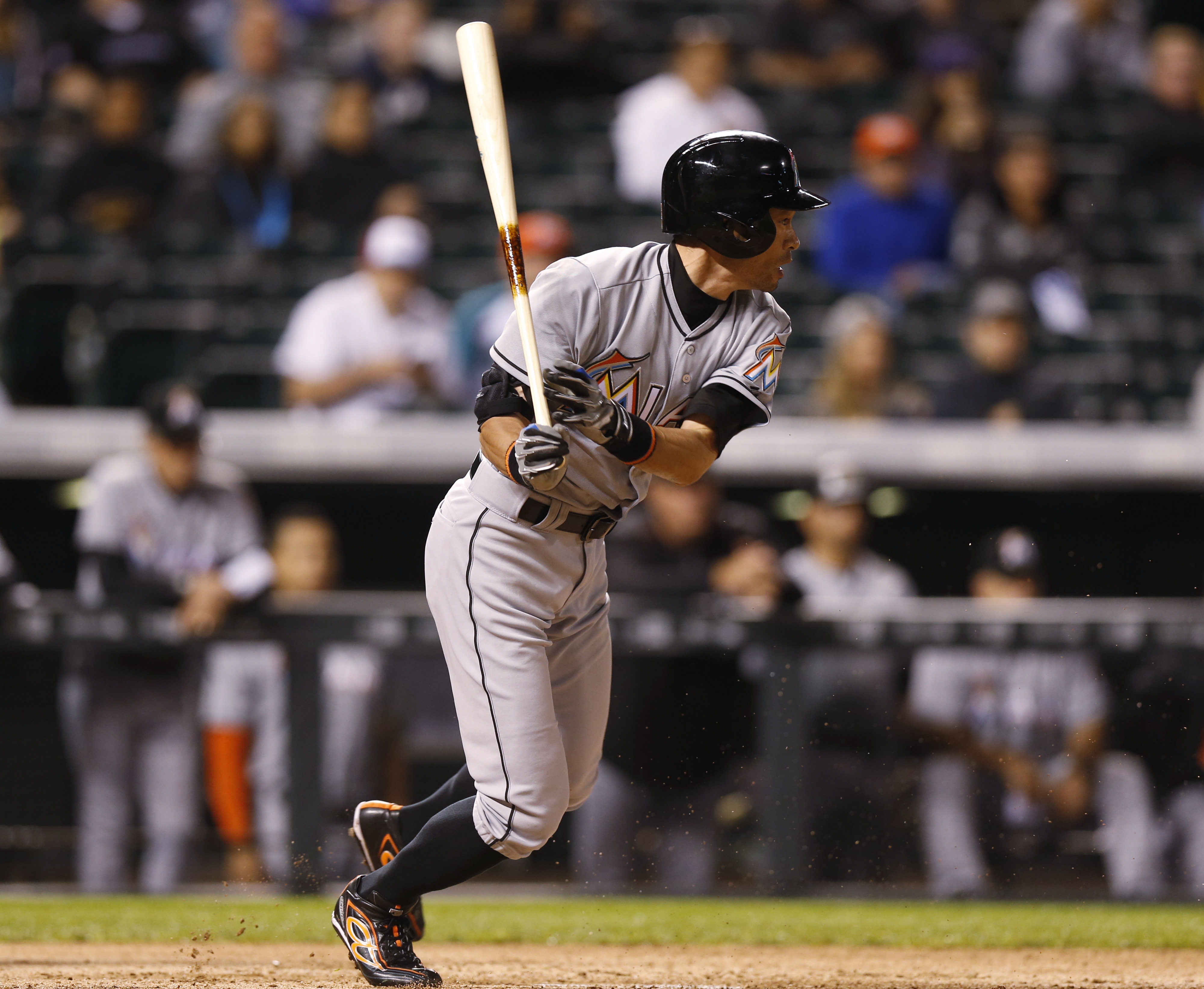 Miami Marlins pinch-hitter Ichiro Suzuki grounds out against the Colorado Rockies in the eighth inning of a baseball game Friday, June 5, 2015, in Denver. The Marlins won 6-2. (AP Photo/David Zalubowski)
