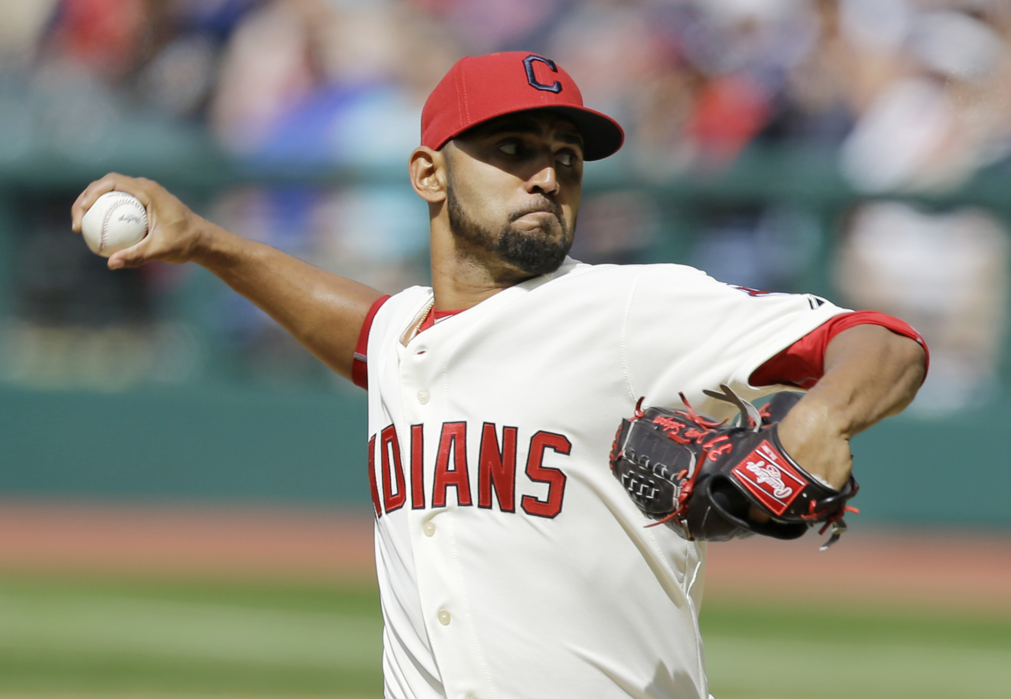 Cleveland Indians starting pitcher Danny Salazar delivers in the first inning of a baseball game against the Baltimore Orioles, Saturday, June 6, 2015, in Cleveland. (AP Photo/Tony Dejak)