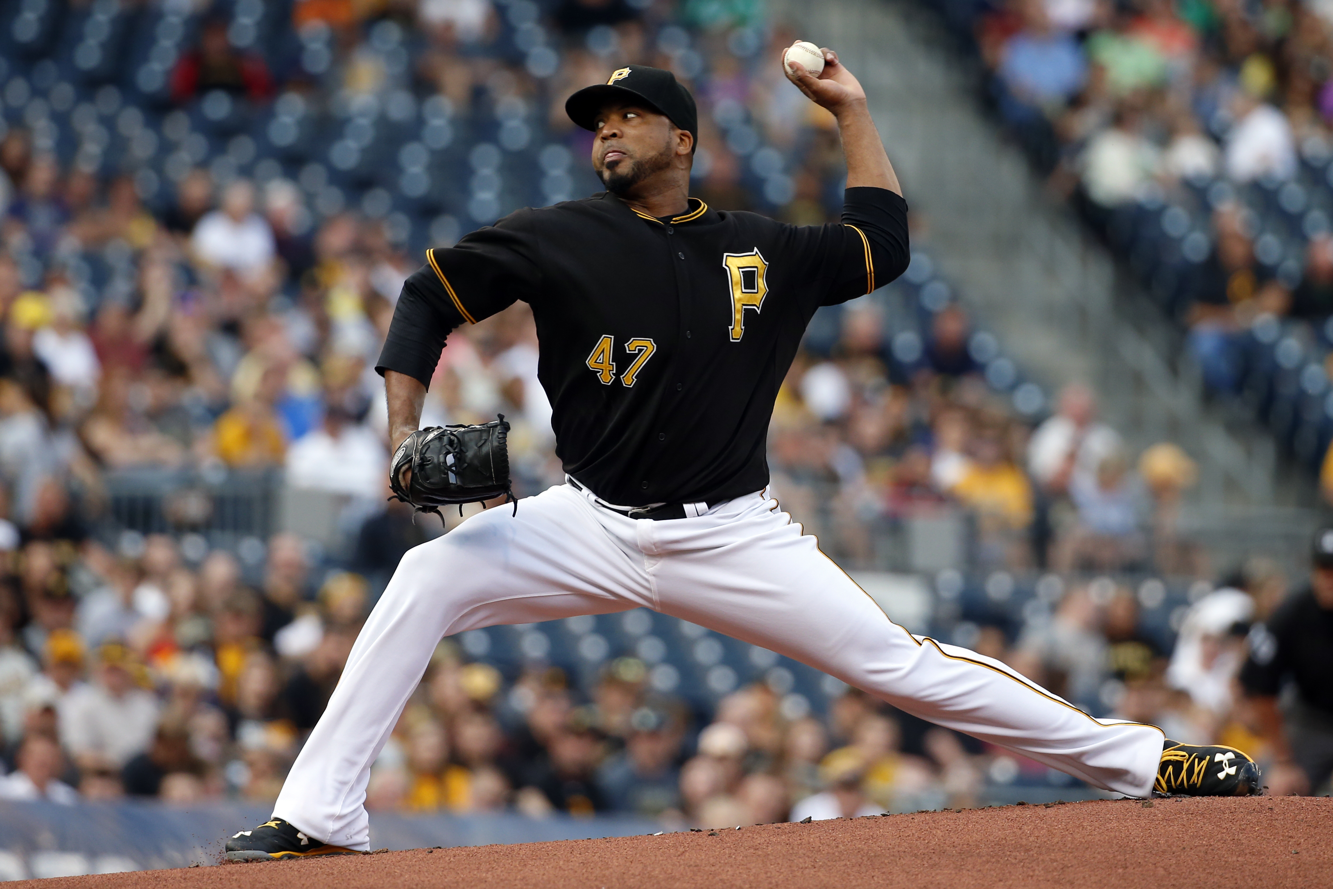 Pittsburgh Pirates starting pitcher Francisco Liriano (47) delivers in the first inning of a baseball game against the Milwaukee Brewers in Pittsburgh, Tuesday, June 9, 2015. (AP Photo/Gene J. Puskar)