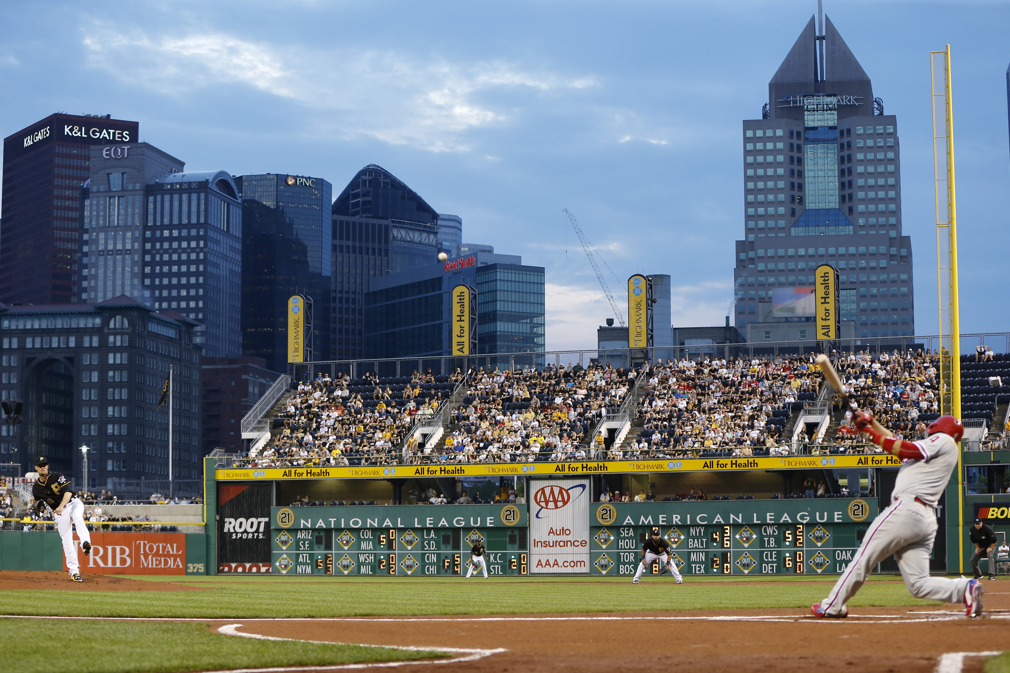 Philadelphia Phillies' Andres Blanco (4) flies out to Pittsburgh Pirates center fielder Andrew McCutchen on a pitch from Jeff Locke, left, during the first inning of a baseball game Friday, June 12, 2015, in Pittsburgh. (AP Photo/Keith Srakocic)