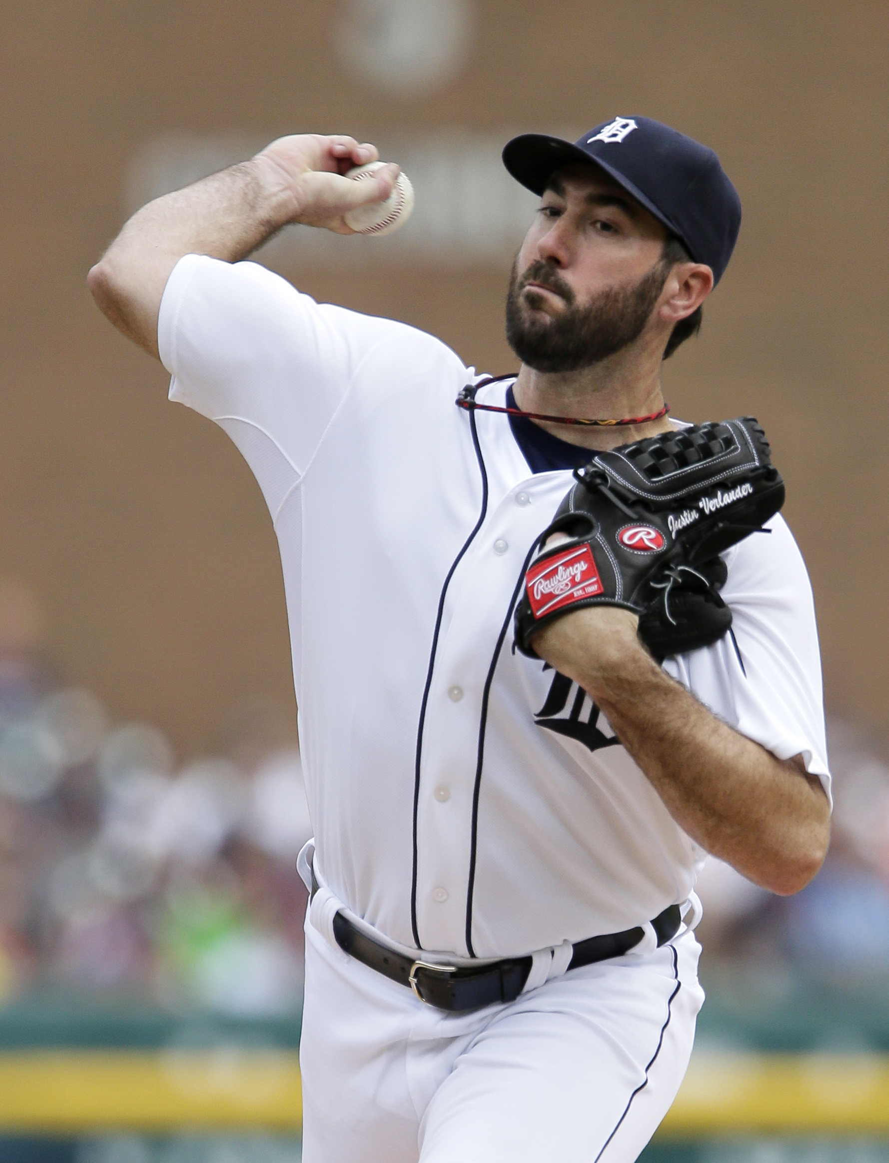 Detroit Tigers pitcher Justin Verlander delivers against the Cleveland Indians during the first inning of a baseball game Saturday, June 13, 2015, in Detroit. (AP Photo/Duane Burleson)