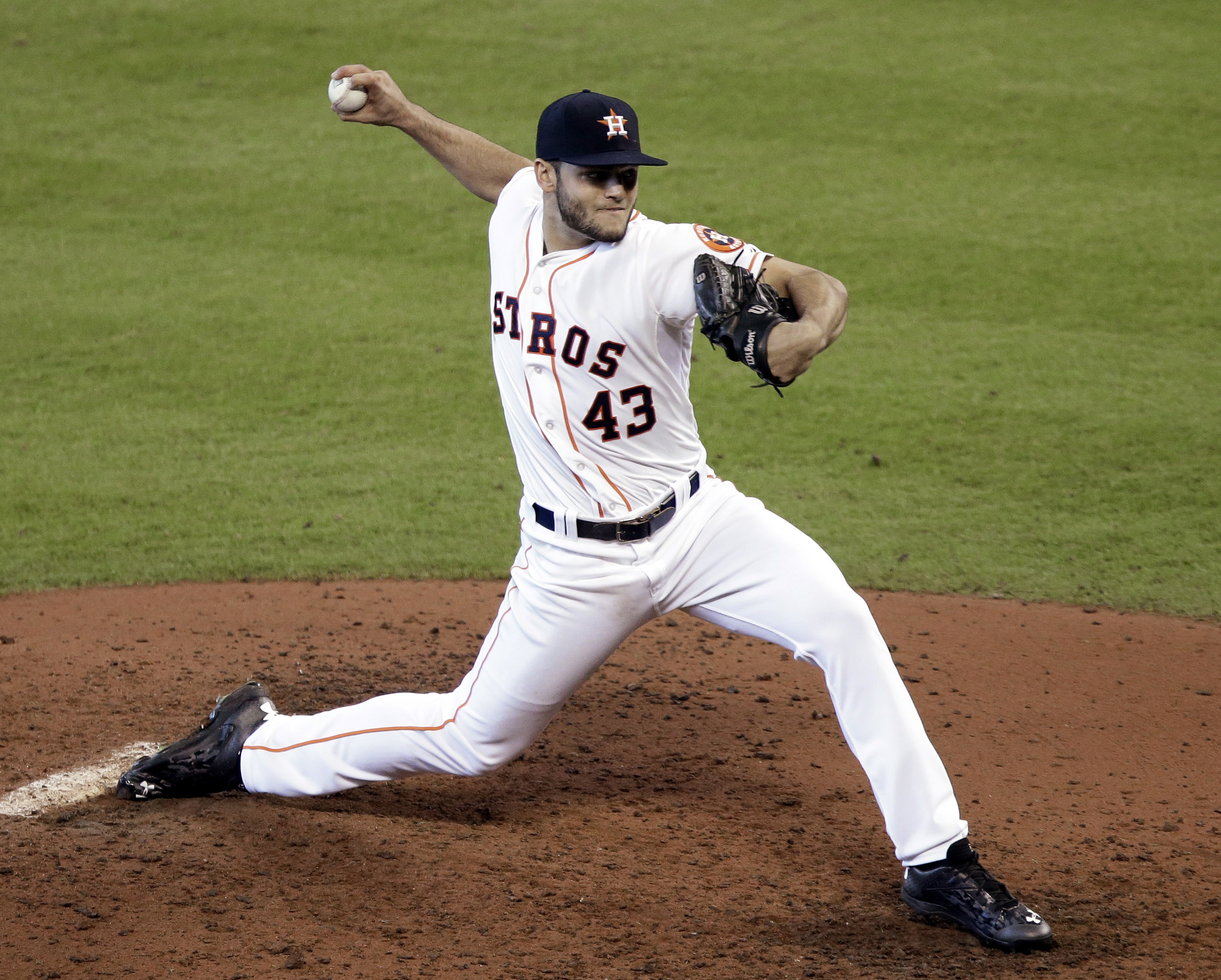 Houston Astros starting pitcher Lance McCullers delivers a pitch against the Seattle Mariners in the fifth inning of a baseball game Sunday, June 14, 2015, in Houston. McCullers kept the Mariners hitless for five innings before leaving the game. (AP Photo