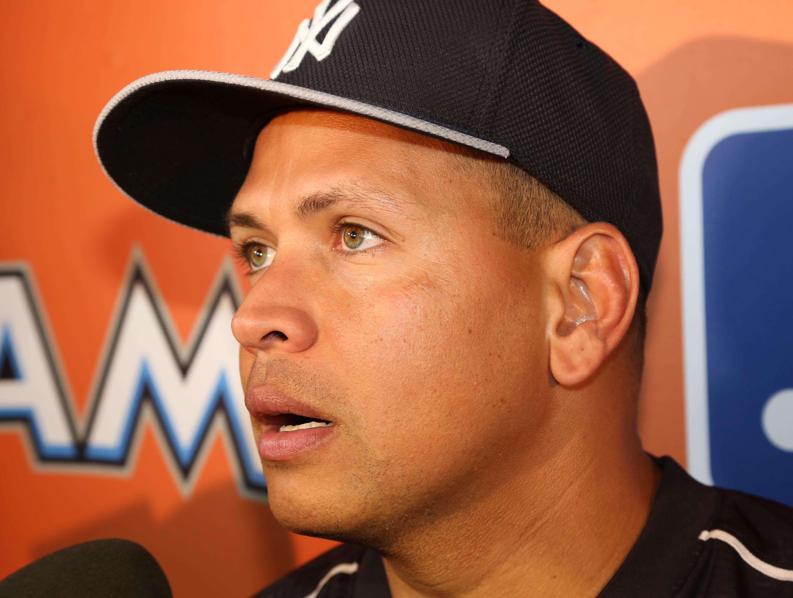 New York Yankees' Alex Rodriguez talks to reporters before a baseball game against the Miami Marlins on.Monday, June 15, 2015, in Miami. (Hector Gabino/El Nuevo Herald via AP)