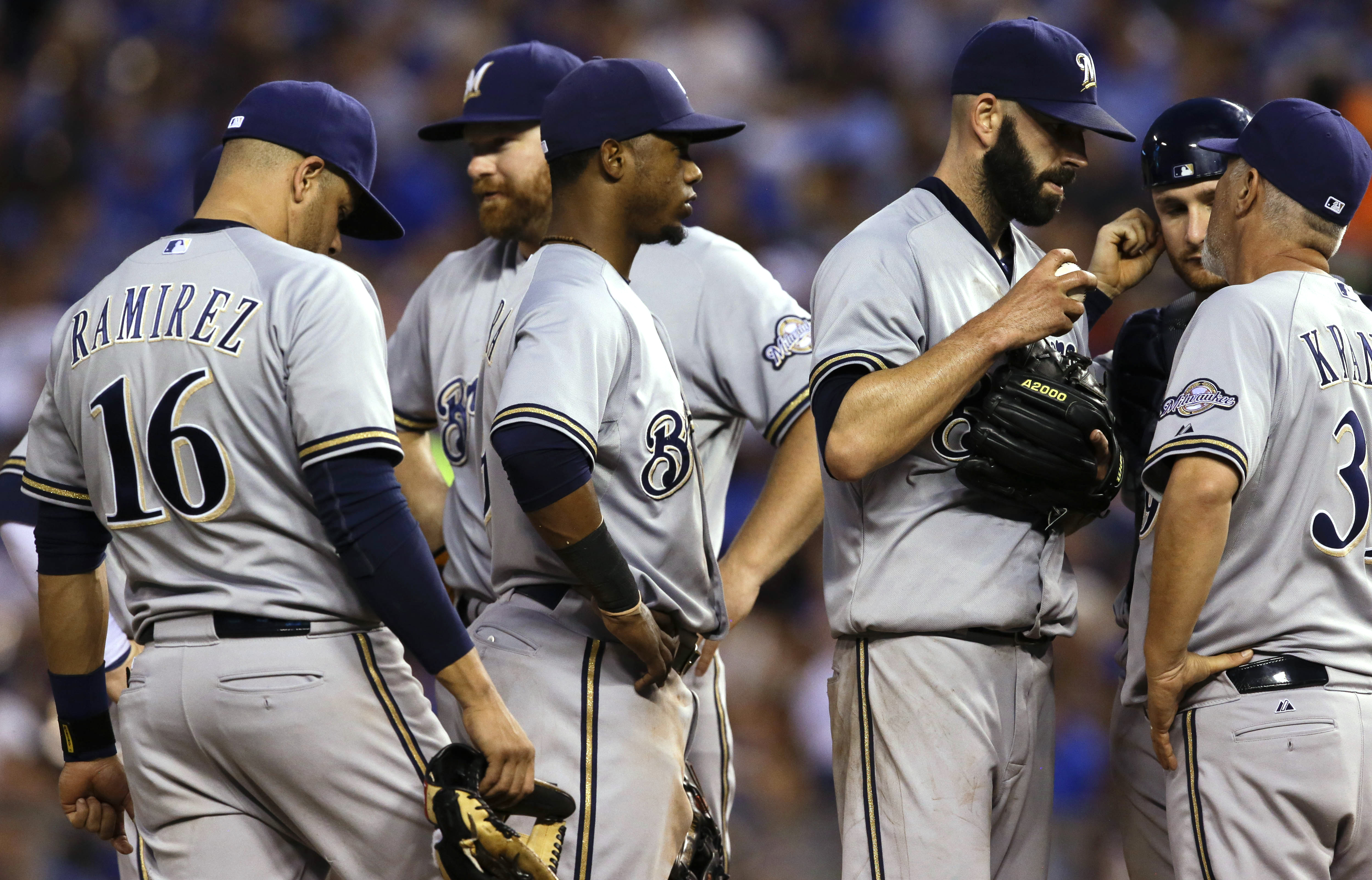 \Milwaukee Brewers pitching coach Rick Kranitz, right, calls a mound meeting with starting pitcher Mike Fiers and the rest of the infield during the fifth inning of a baseball game against the Kansas City Royals at Kauffman Stadium in Kansas City, Mo., We