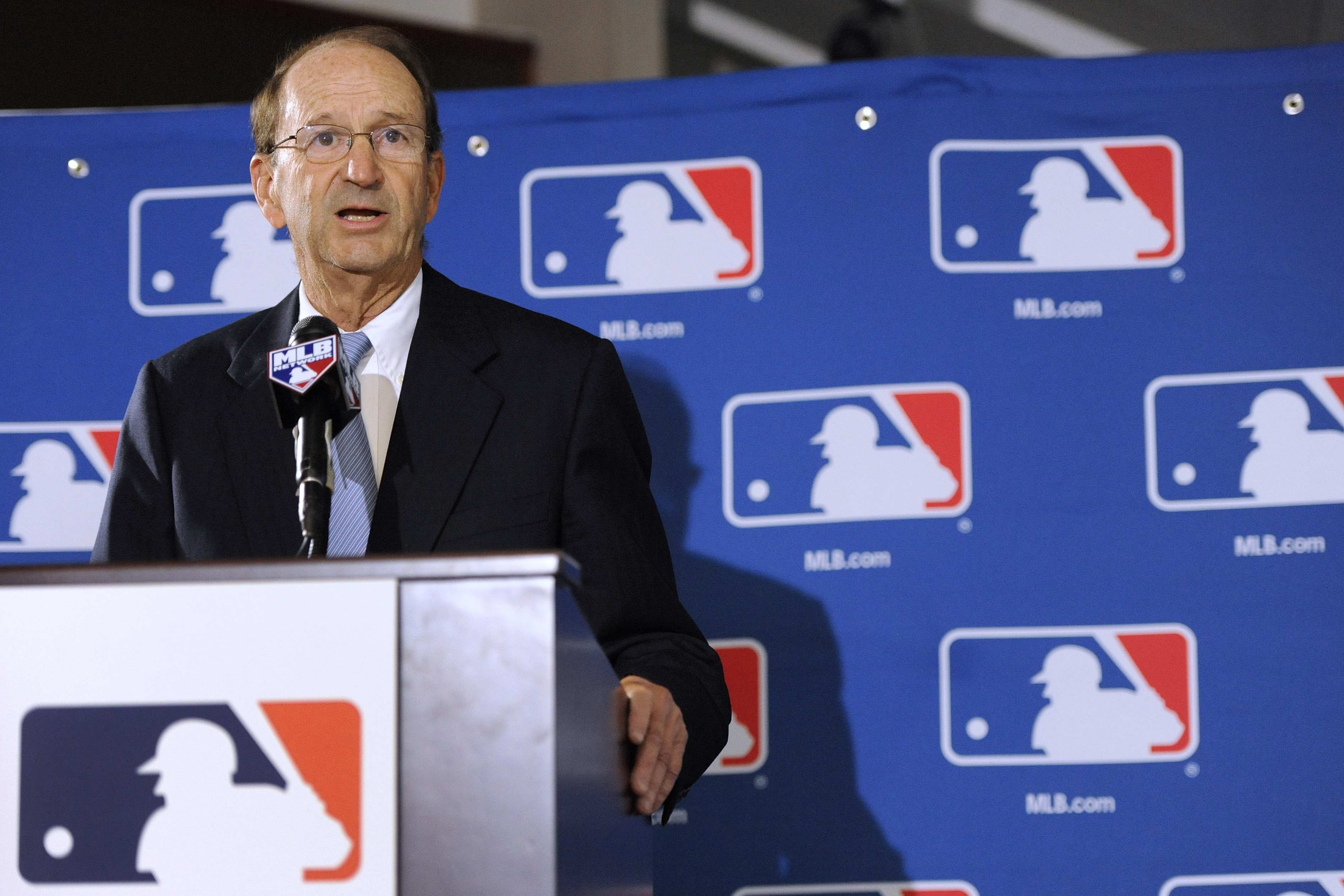 St. Louis Cardinals chairman Bill DeWitt Jr., chairman of a baseball commissioner succession committee, speaks during a news conference after team owners elected Major League Baseball Chief Operating Officer Rob Manfred, not pictured, as the next commissi