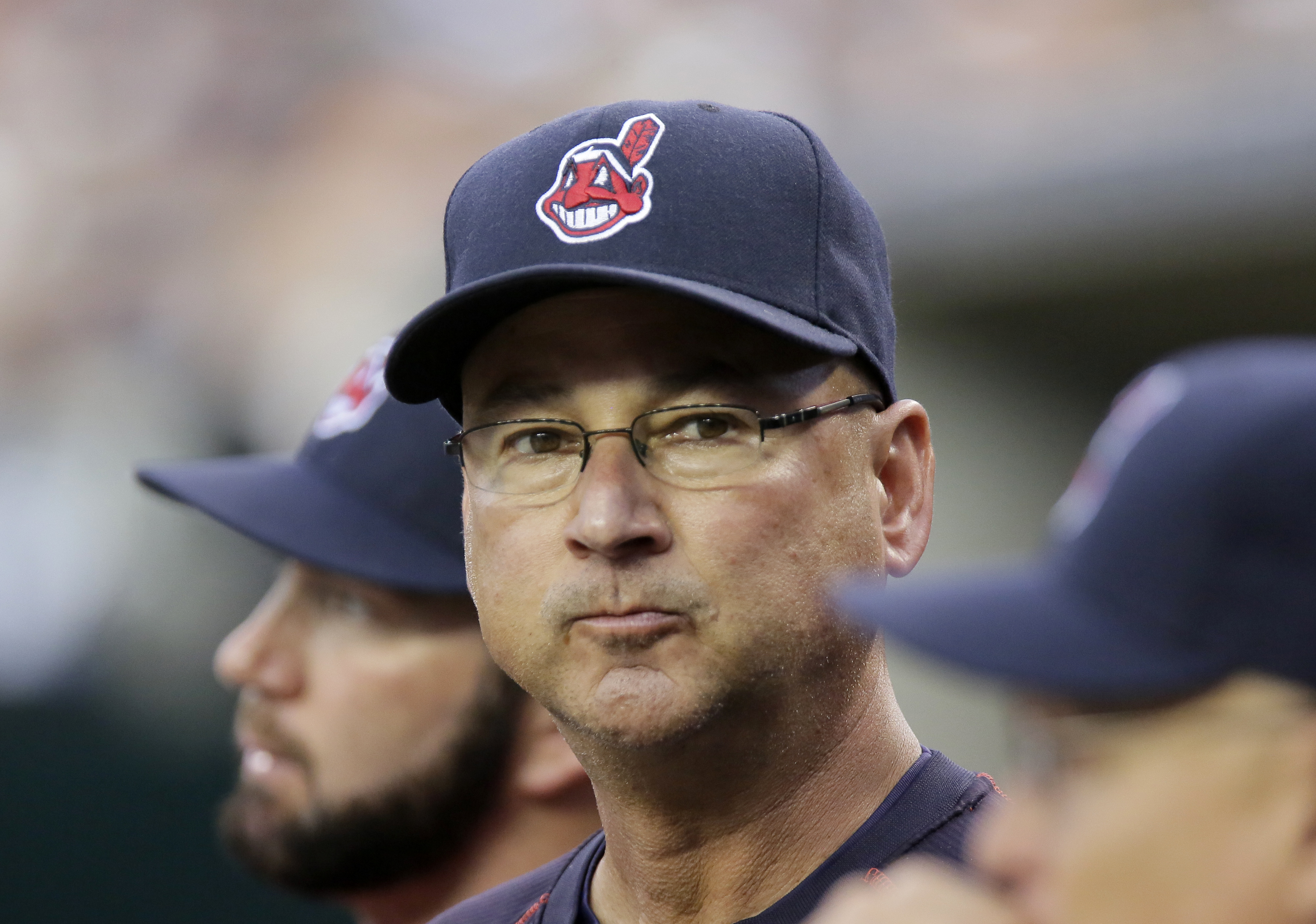 Cleveland Indians manager Terry Francona watches from the dugout during their game against the Detroit Tigers of a baseball game Friday, June 12, 2015, in Detroit. (AP Photo/Duane Burleson)