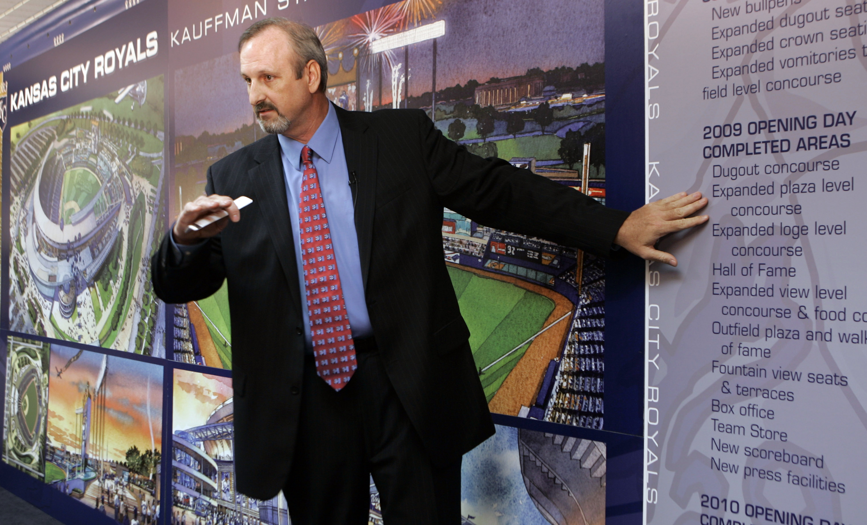 FILE - In May 21, 2007 file photo, Earl Santee, of the stadium architectural firm HOK, talks about plans for the $250 million renovation of Kauffman Stadium in Kansas City, Mo  Over nearly three decades, Santee and Joe Spear  have built Kansas City-based