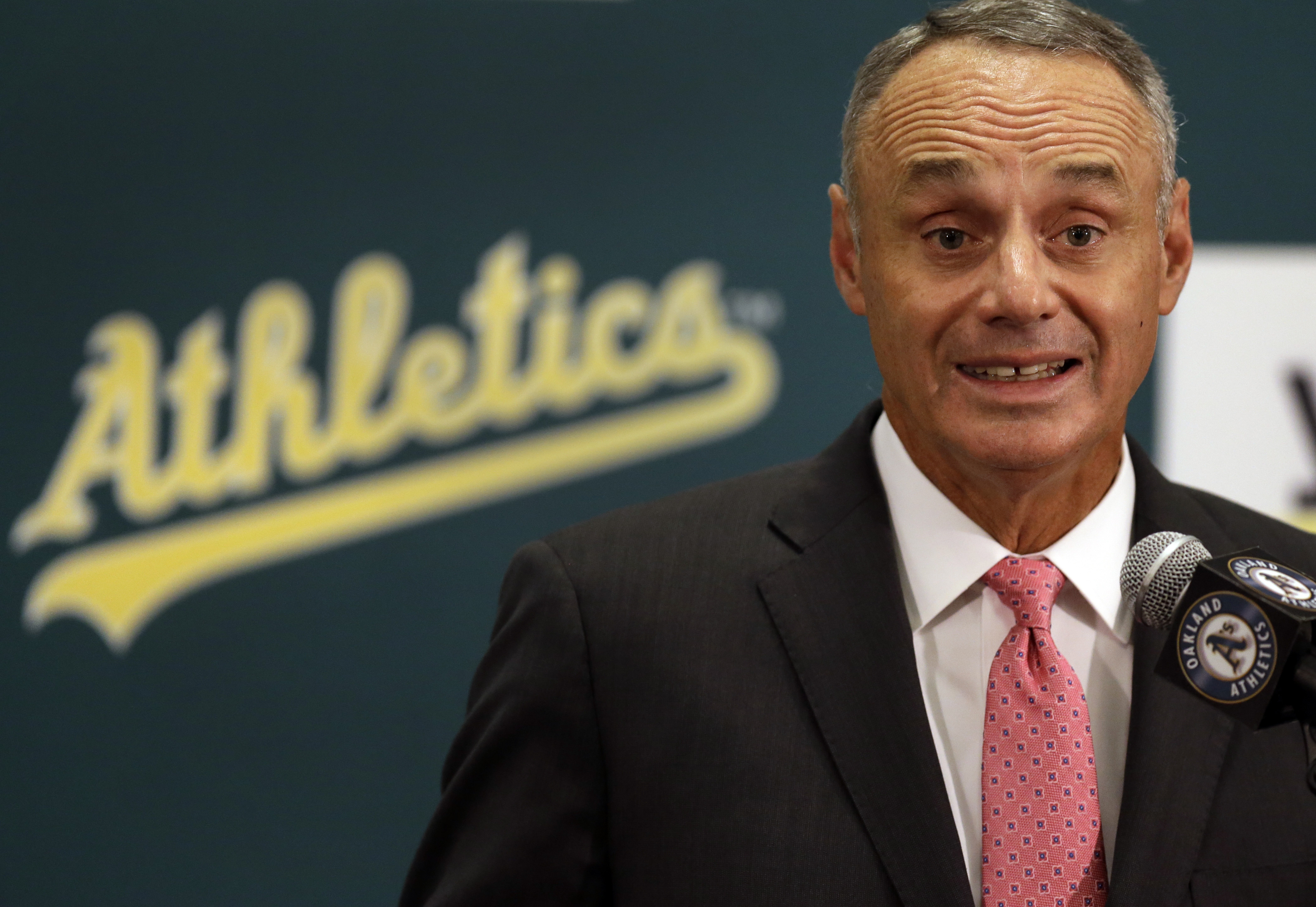 Baseball Commissioner Rob Manfred speaks during a media conference Friday, June 19, 2015, prior to a baseball game between the Los Angeles Angels and the Oakland Athletics in Oakland, Calif. (AP Photo/Ben Margot)