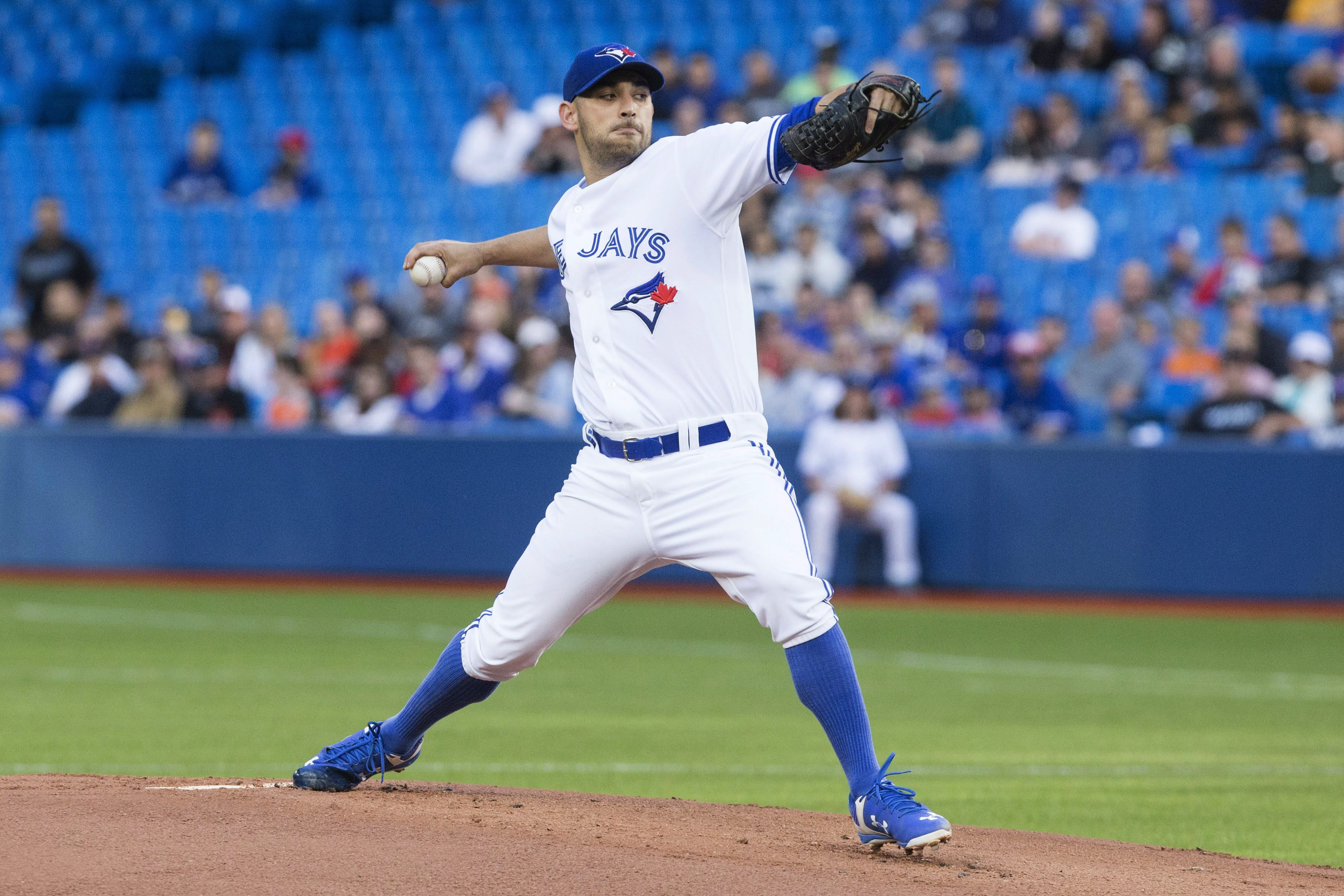 Toronto Blue Jays starting pitcher Marco Estrada throws during first-inning American League baseball game action against the Baltimore Orioles in Toronto, Friday June 19 , 2015. (Chris Young/The Canadian Press via AP) MANDATORY CREDIT