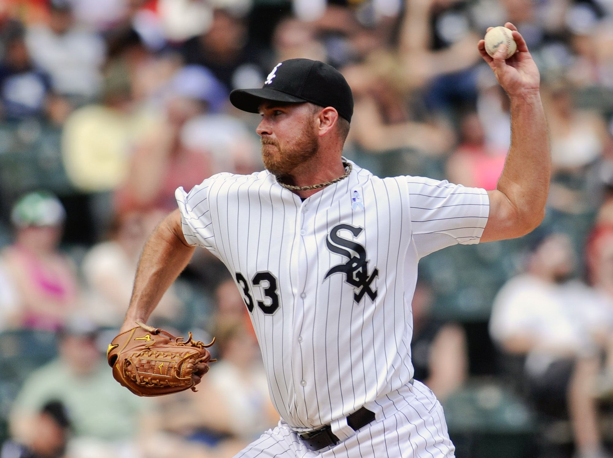 Chicago White Sox pitcher Zach Duke delivers against the Texas Rangers during a baseball game on Sunday, June 21, 2015, in Chicago. (AP Photo/Matt Marton)