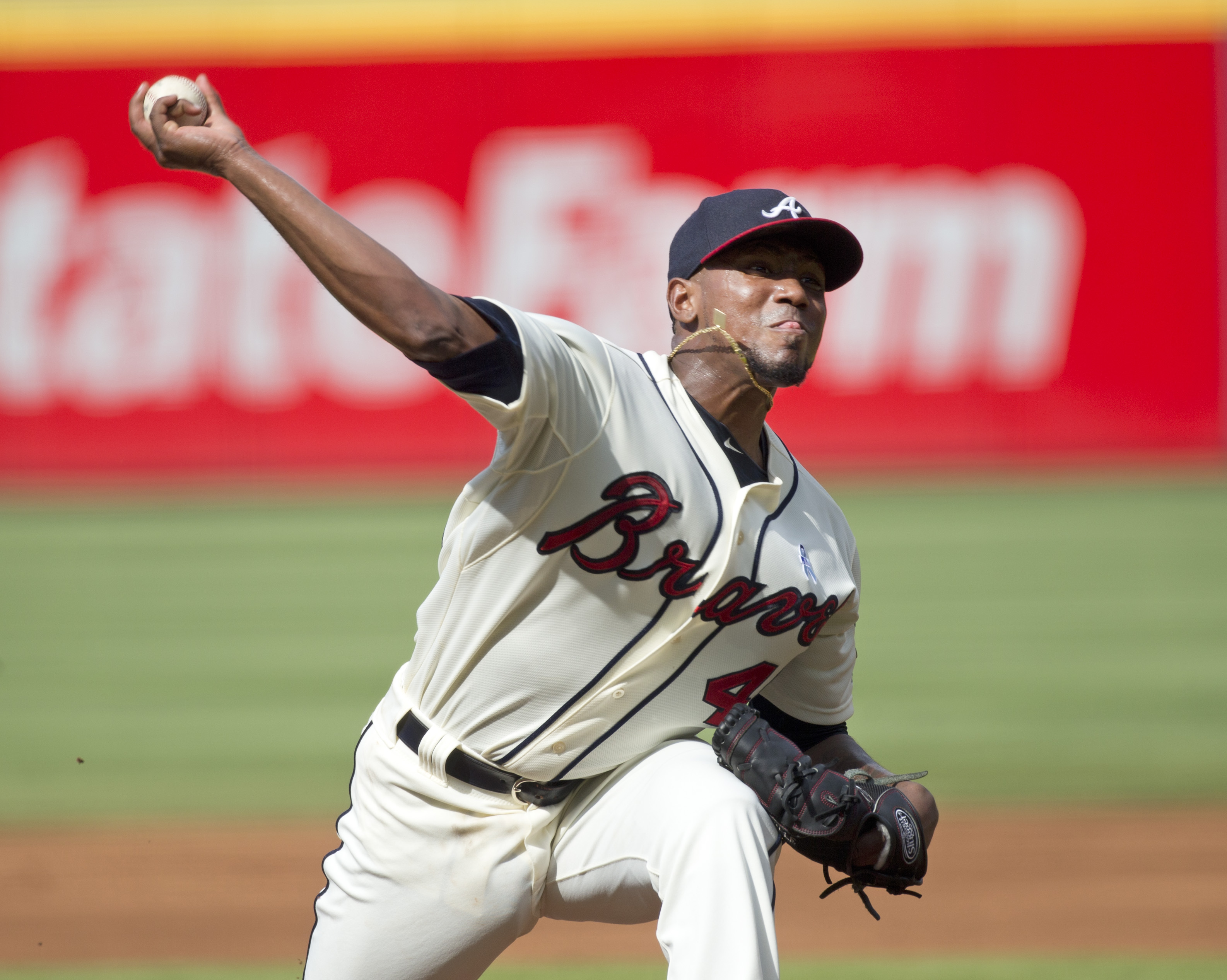Atlanta Braves starting pitcher Julio Teheran works in the first inning of a baseball game against the New York Mets, Sunday, June 21, 2015, in Atlanta. (AP Photo/John Bazemore)
