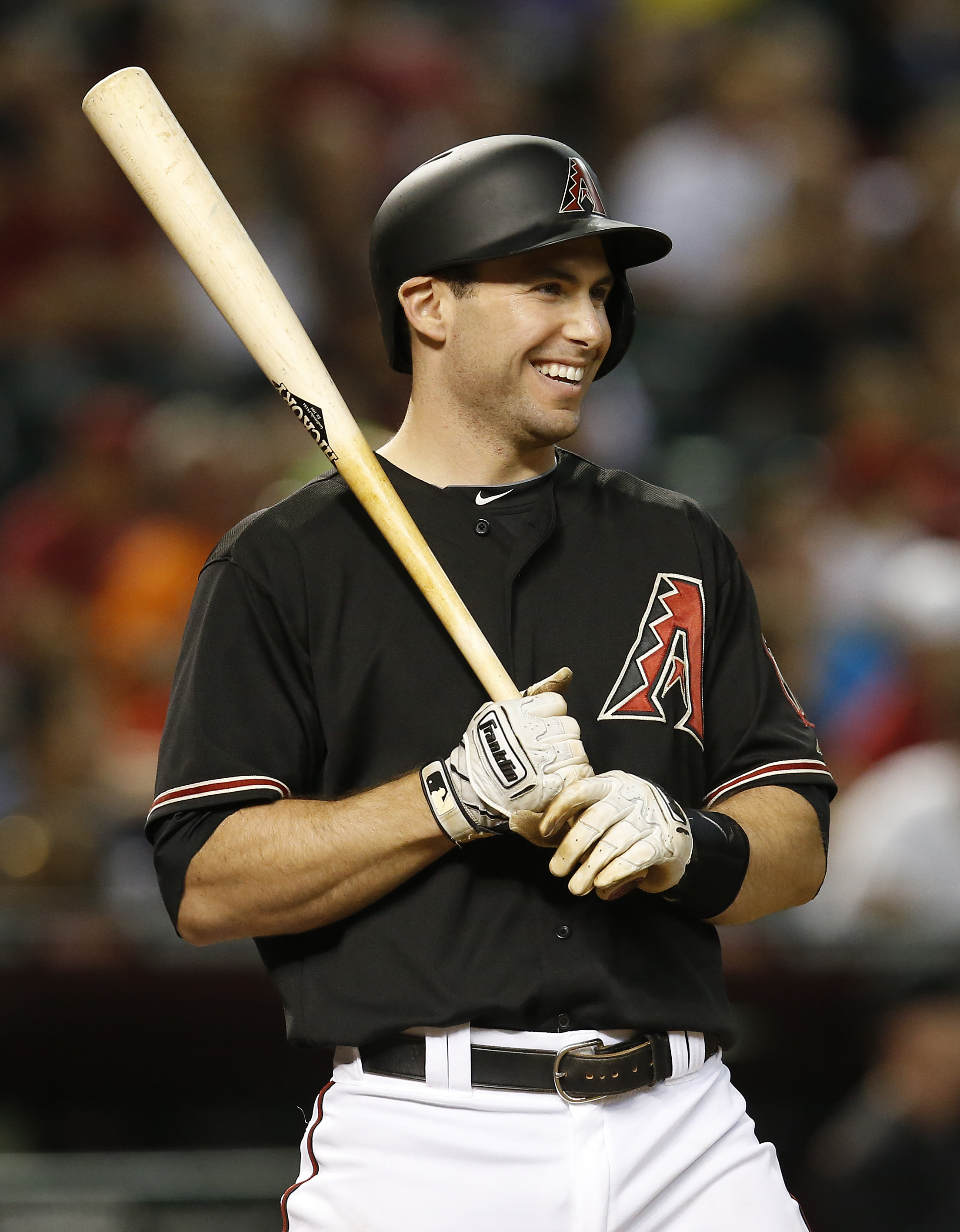 FILE - In this June 6, 2015, file photo, Arizona Diamondbacks Paul Goldschmidt reacts while being intentionally walked in the eighth inning of a baseball game against the New York Mets in Phoenix. Goldschmidt is having a season as good as anyone in the ma
