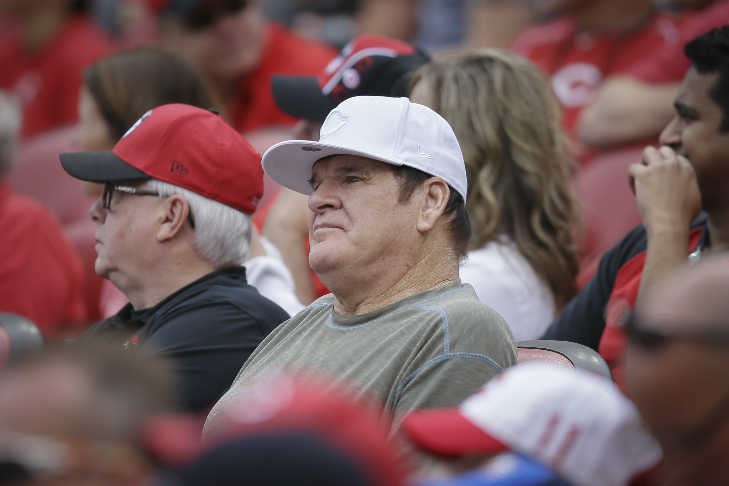 Former Cincinnati Reds' player and manager Pete Rose watches a baseball game between the Reds and Washington Nationals, Sunday, May 31, 2015, in Cincinnati. (AP Photo/John Minchillo)