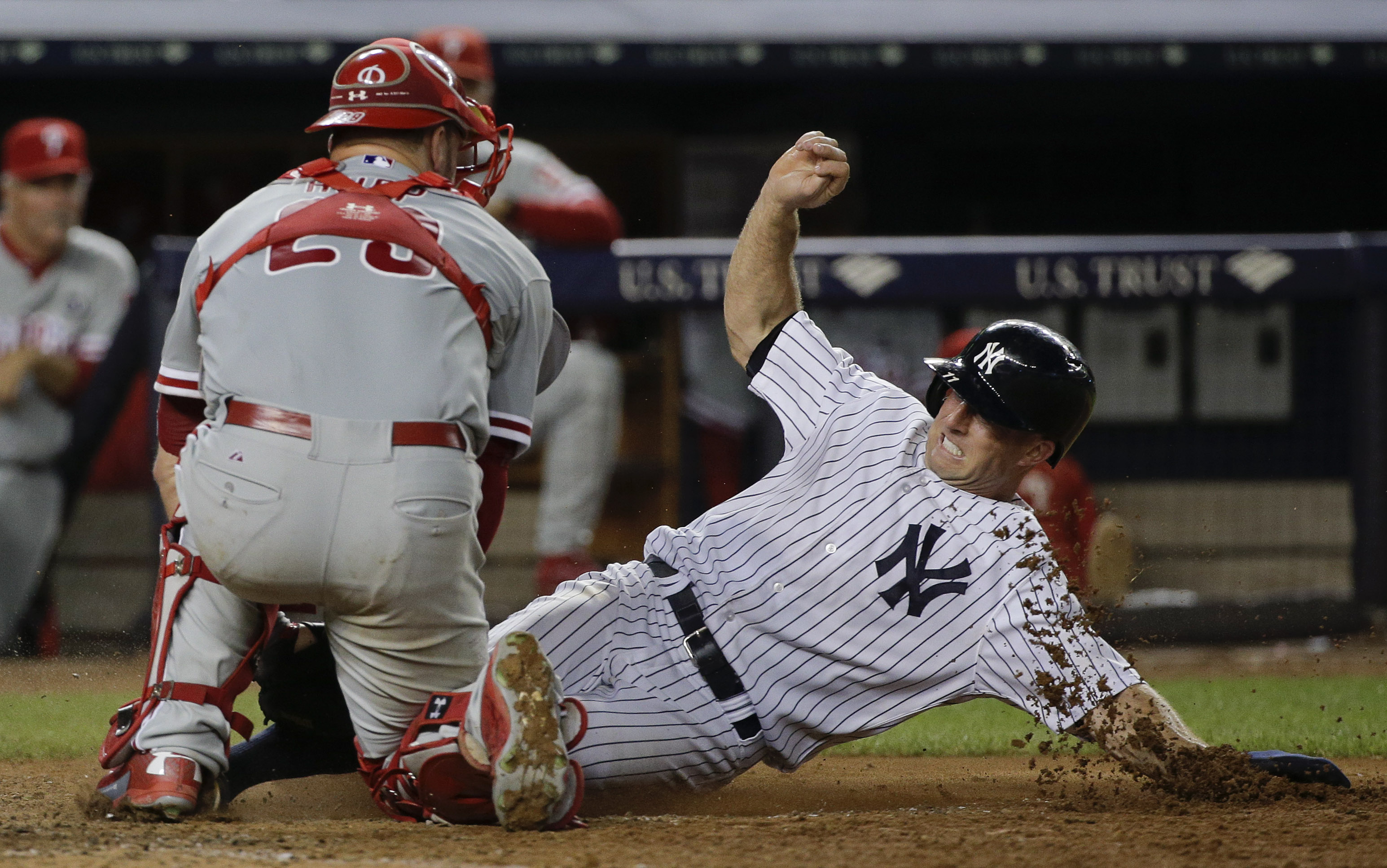 Philadelphia Phillies catcher Cameron Rupp tags out New York Yankees Brett Gardner during the sixth inning of a baseball game, Tuesday, June 23, 2015, in New York. The Phillies won 11-6. (AP Photo/Julie Jacobson)