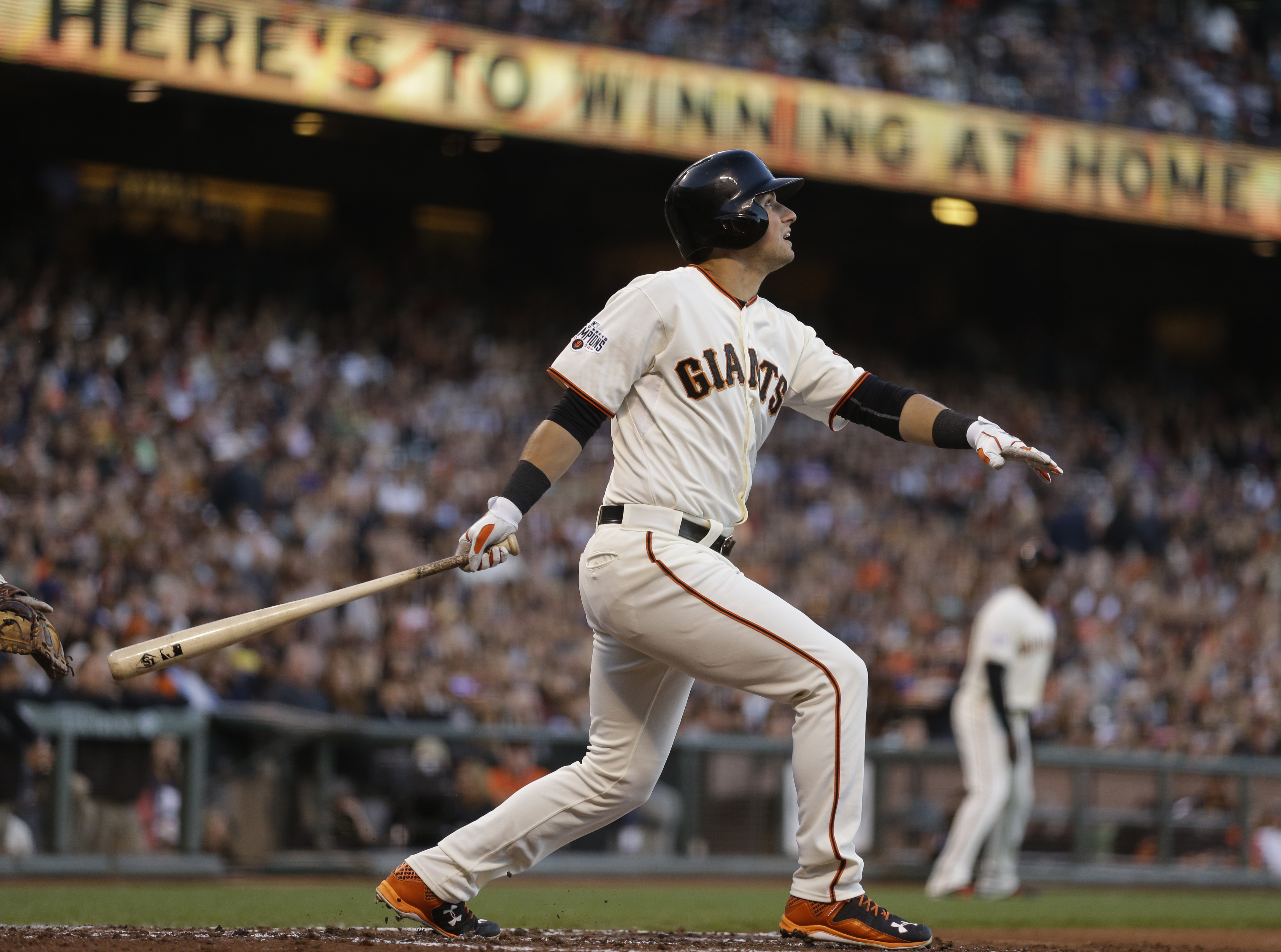 San Francisco Giants' Joe Panik swings for an RBI sacrifice fly off San Diego Padres' Ian Kennedy in the third inning of a baseball game Wednesday, June 24, 2015, in San Francisco. (AP Photo/Ben Margot)