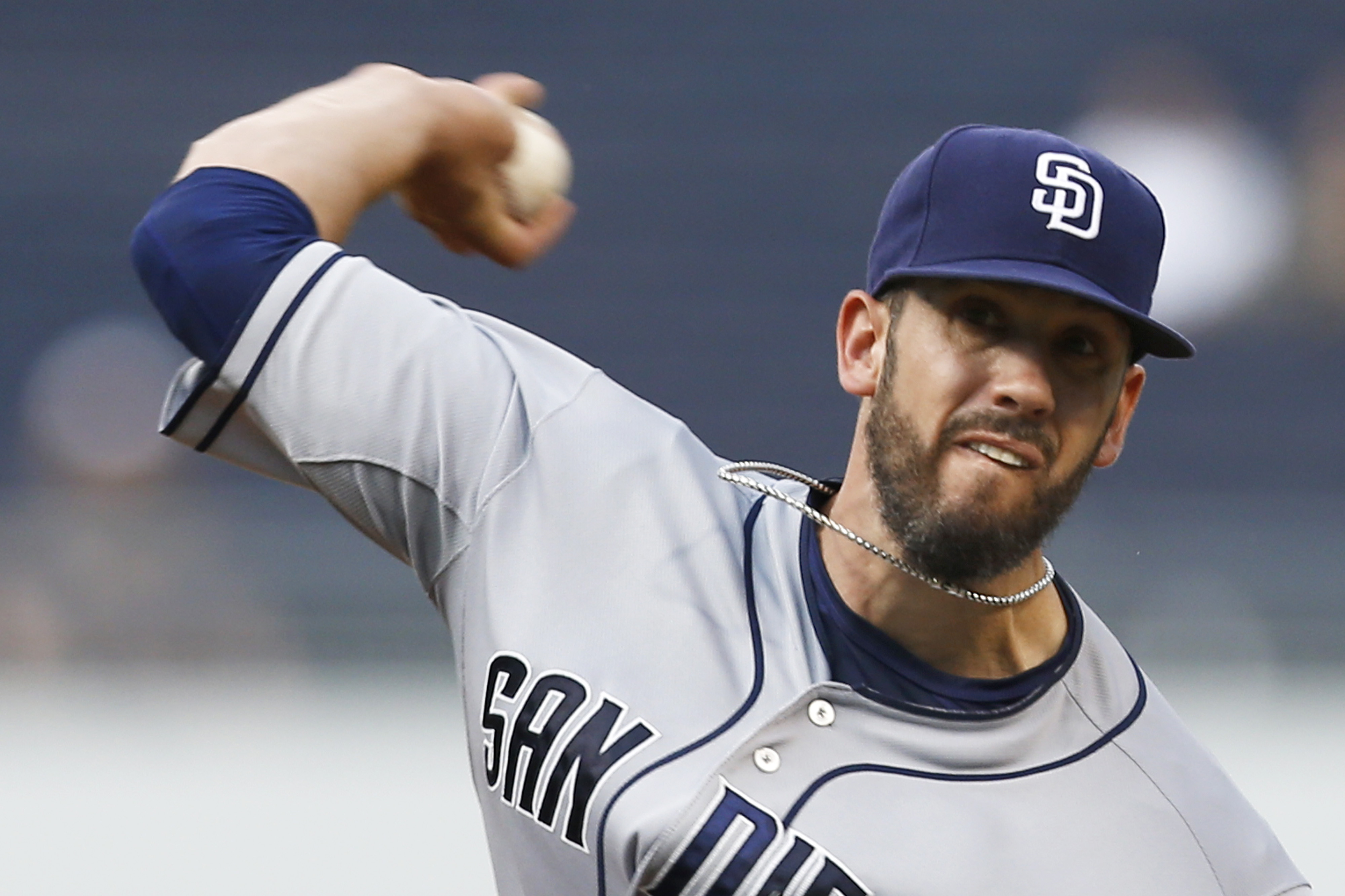 San Diego Padres starting pitcher James Shields throws against the Pittsburgh Pirates in the first inning of a baseball game, Monday, July 6, 2015, in Pittsburgh. (AP Photo/Keith Srakocic)