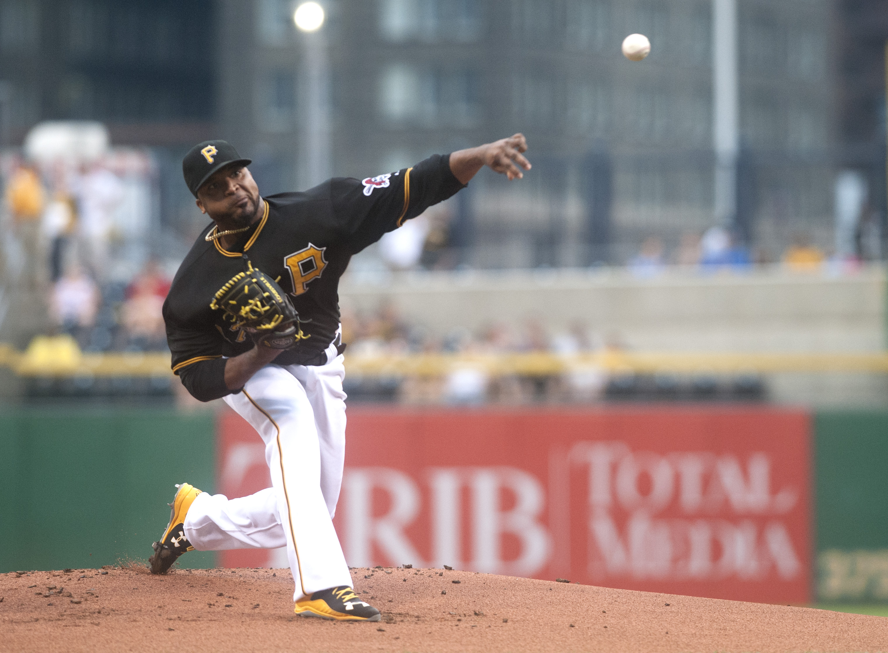 Pittsburgh Pirates starter Francisco Liriano pitches during the first inning of a baseball game against the San Diego Padres in Pittsburgh, Tuesday, July 7, 2015. (AP Photo/Vincent Pugliese)
