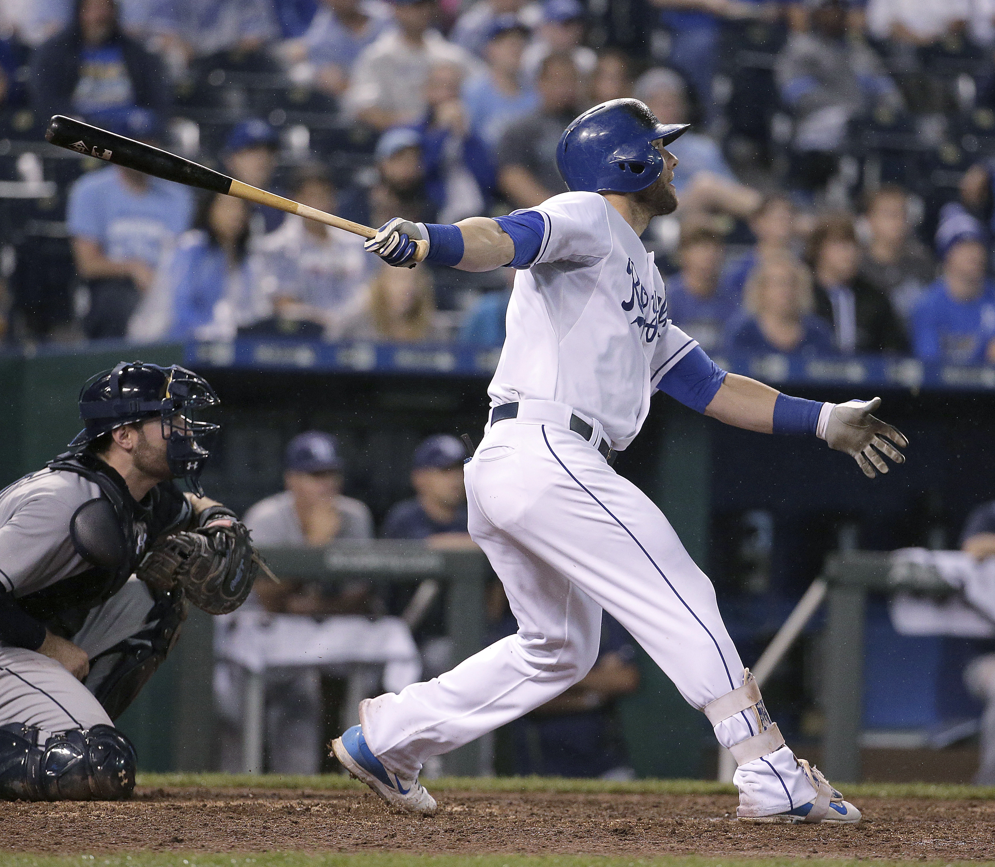 Kansas City Royals' Alex Gordon watches his two-run double during the eighth inning of the second game in a baseball doubleheader against the Tampa Bay Rays Tuesday, July 7, 2015, in Kansas City, Mo. (AP Photo/Charlie Riedel)