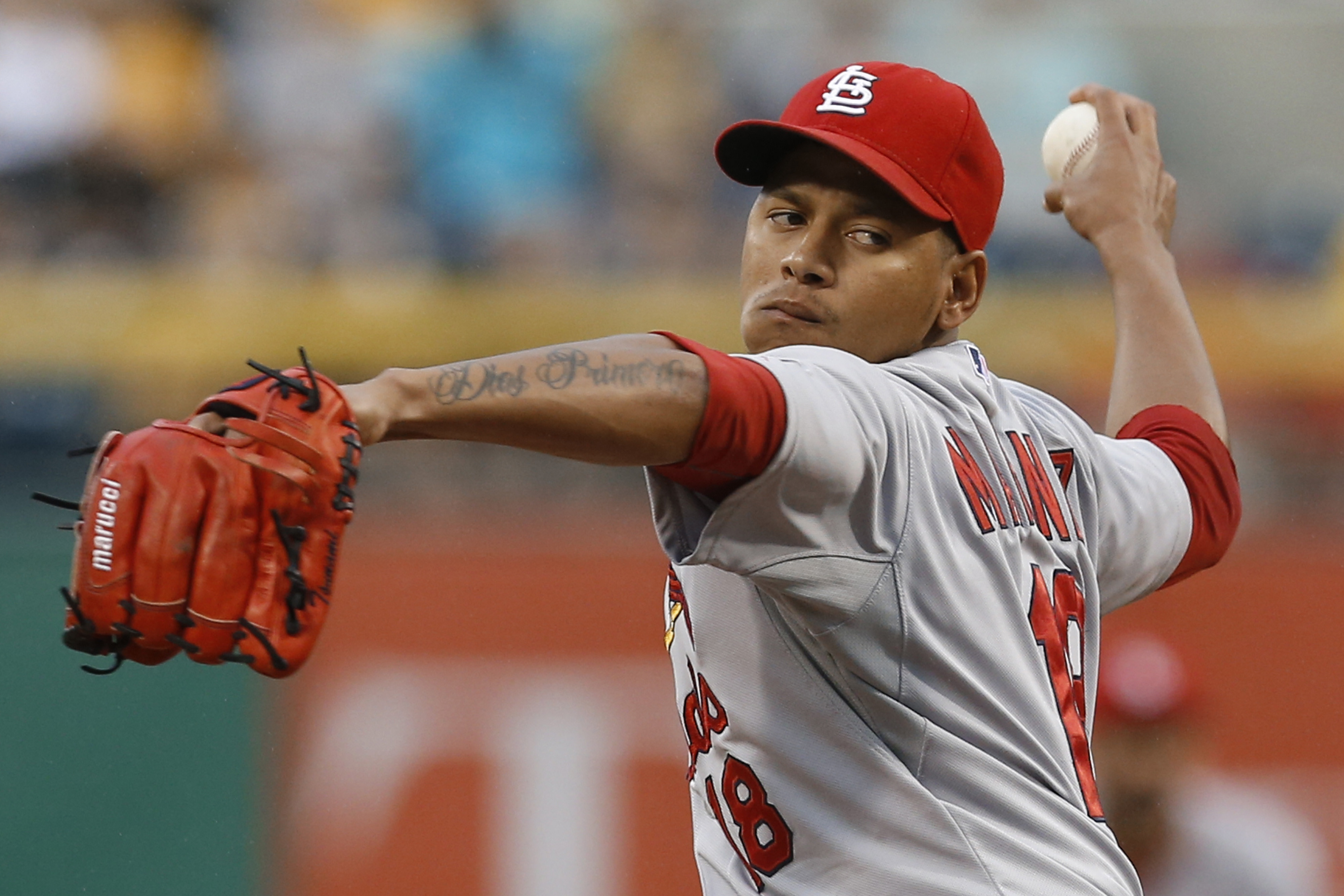 St. Louis Cardinals starting pitcher Carlos Martinez throws against the Pittsburgh Pirates during the first inning of a baseball game, Thursday, July 9, 2015, in Pittsburgh. (AP Photo/Keith Srakocic)