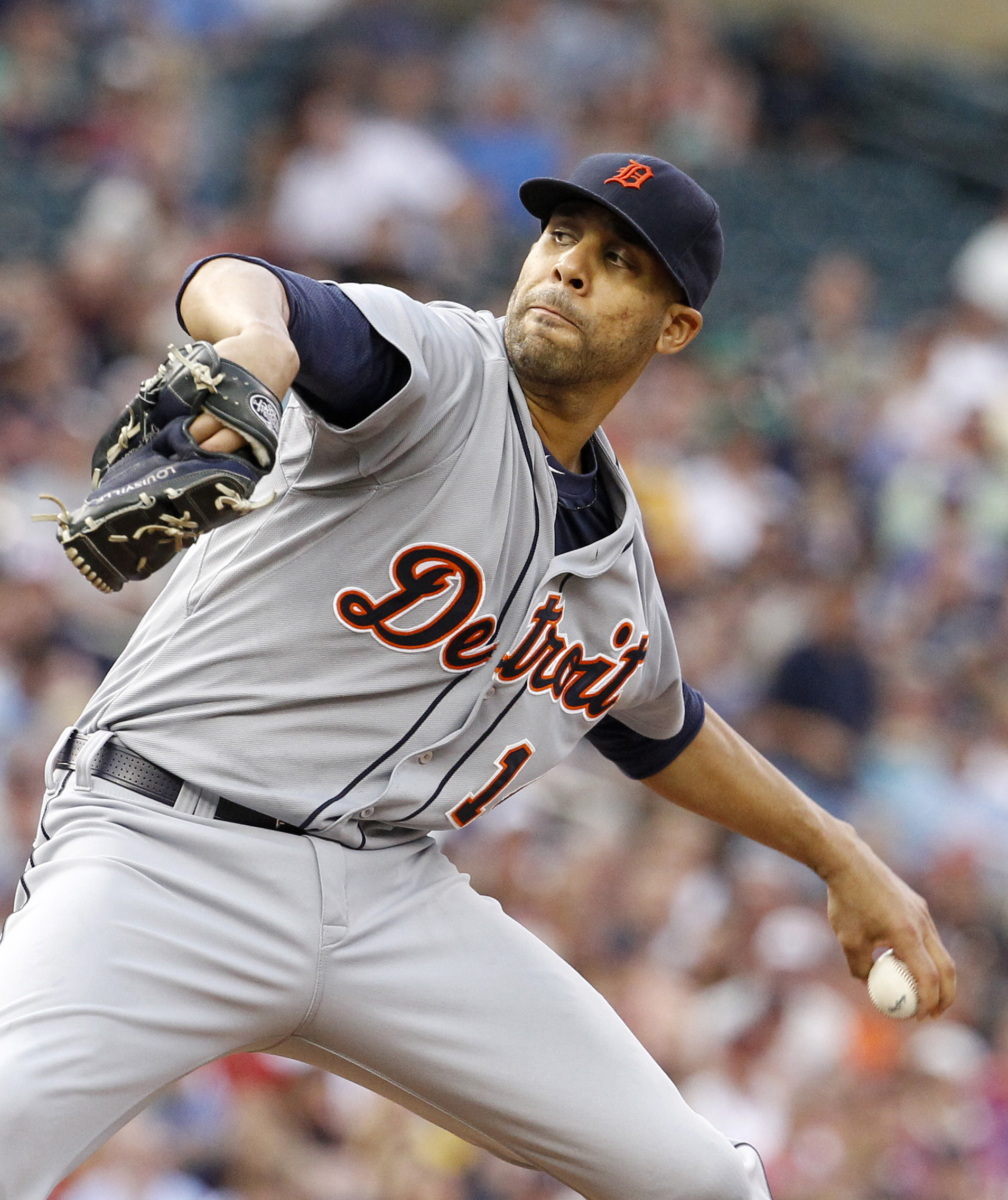 Detroit Tigers starting pitcher David Price delivers to the Minnesota Twins during the third inning of a baseball game in Minneapolis, Thursday, July 9, 2015. (AP Photo/Ann Heisenfelt)
