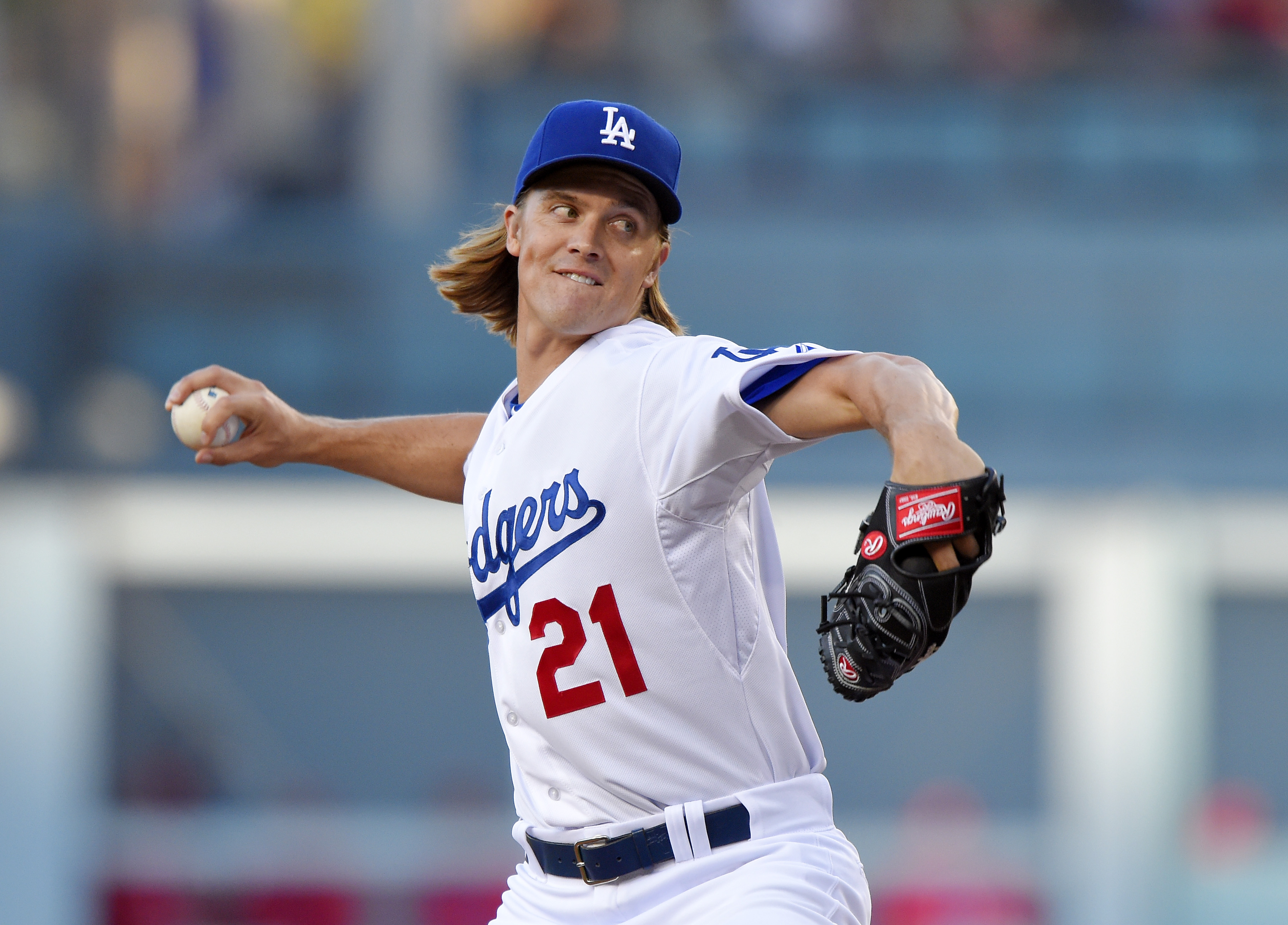 Los Angeles Dodgers' Zack Greinke pitches during the first inning of a baseball game against the Philadelphia Phillies, Thursday, July 9, 2015, in Los Angeles. (AP Photo/Mark J. Terrill)