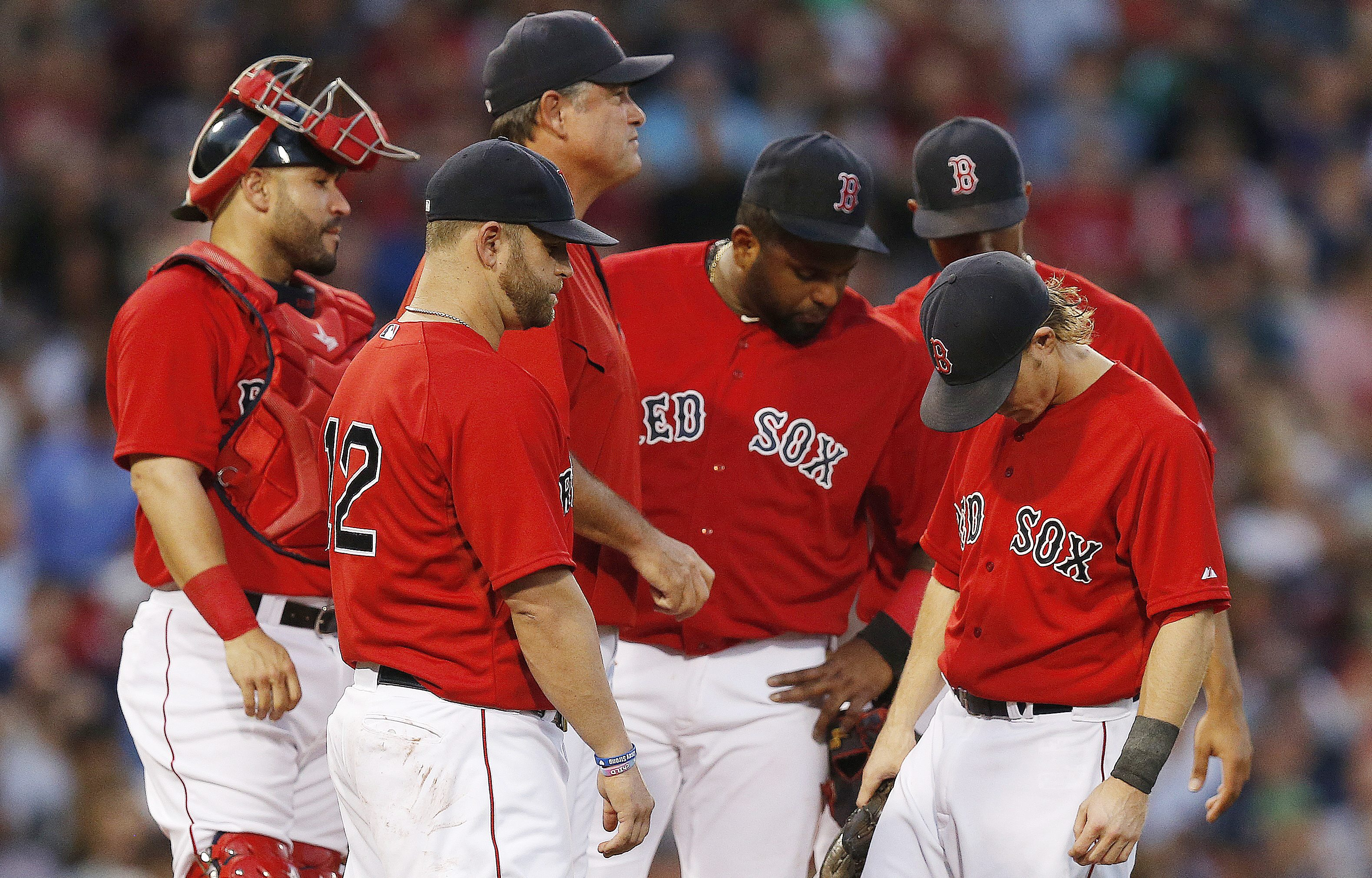 Boston Red Sox manager, John Farrell, third from left, looks to the bullpen as players, from left, Sandy Leon, Mike Napoli, Pablo Sandoval, Xander Bogaerts, partially hidden, and Brock Holt wait for a relief pitcher after Clay Buchholz left the baseball g