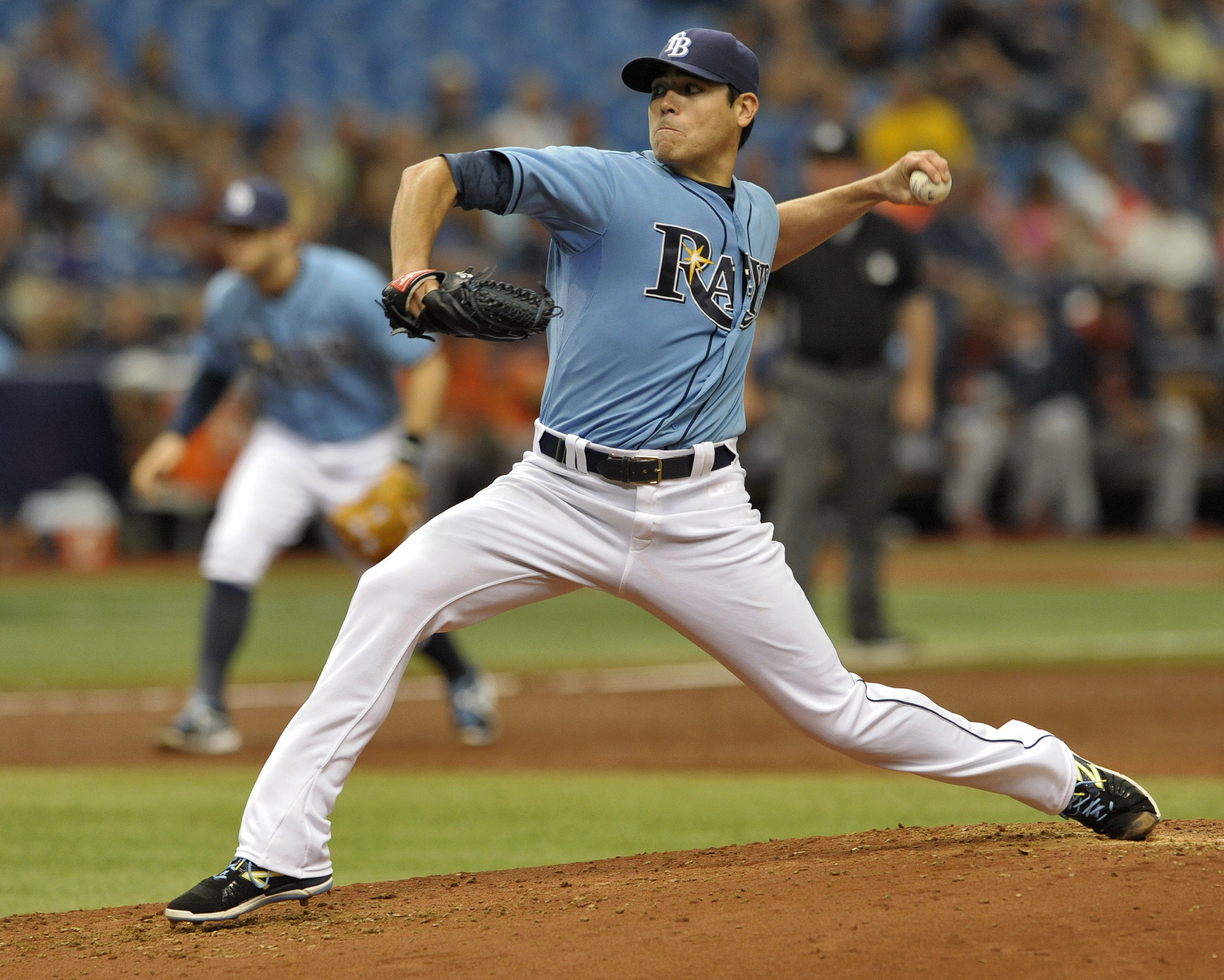Tampa Bay Rays starter Matt Moore pitches against the Houston Astros during the third inning of a baseball game, Sunday, July 12, 2015, in St. Petersburg, Fla. (AP Photo/Steve Nesius)