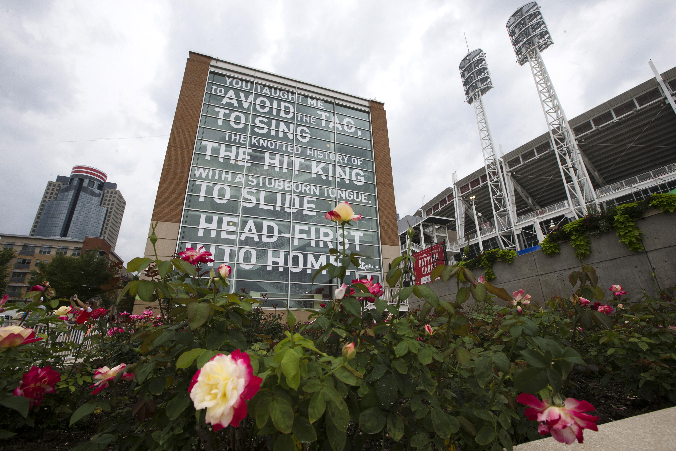 A rose garden planted in tribute to former Cincinnati Reds baseball player Pete Rose is seen outside outside Great American Ball Park, Monday, July 13, 2015, in Cincinnati. The Reds, hosting the All-Star Game for the first time since 1988, celebrate their